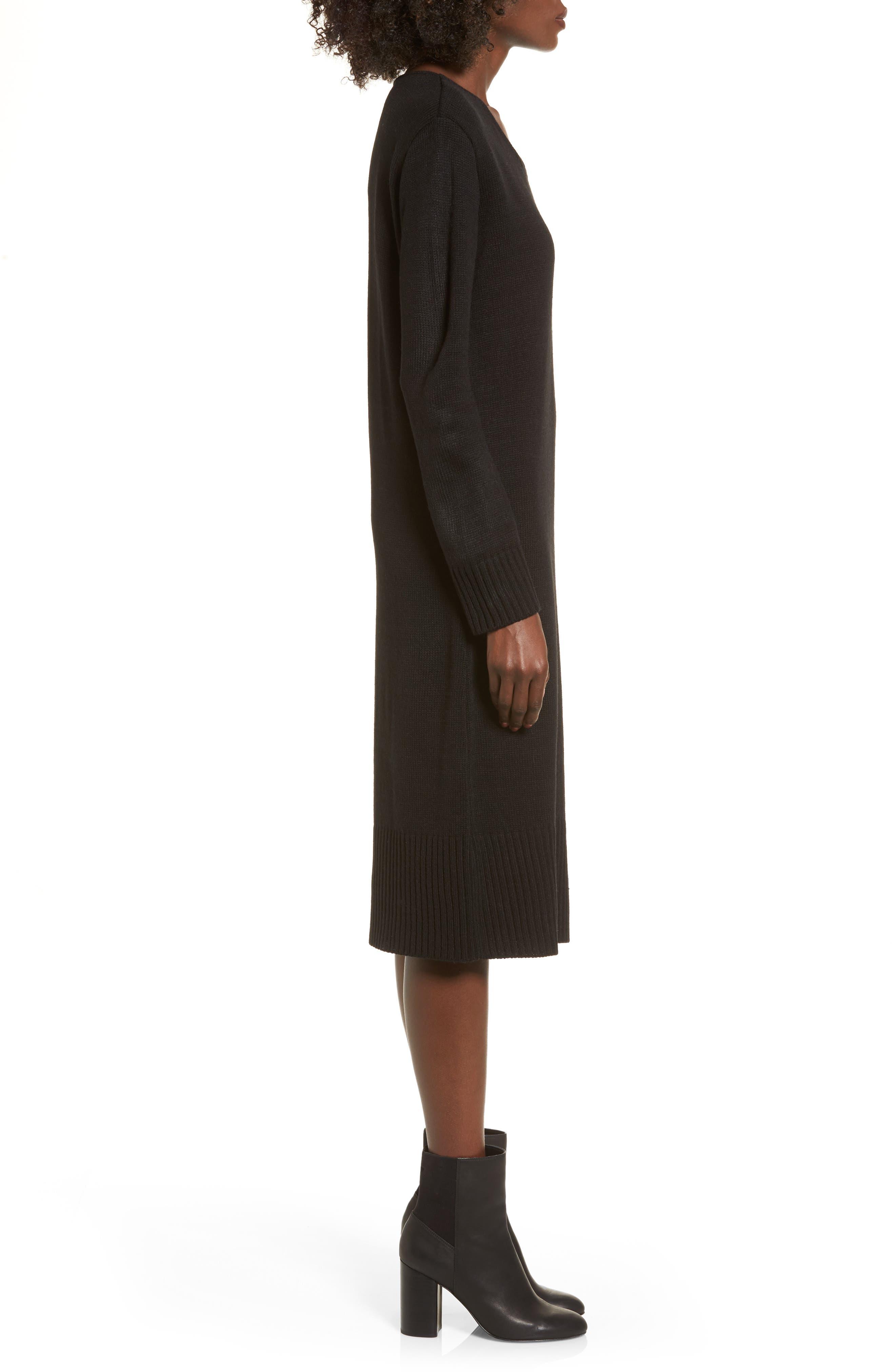 Sweater Dress,                             Alternate thumbnail 3, color,                             Black