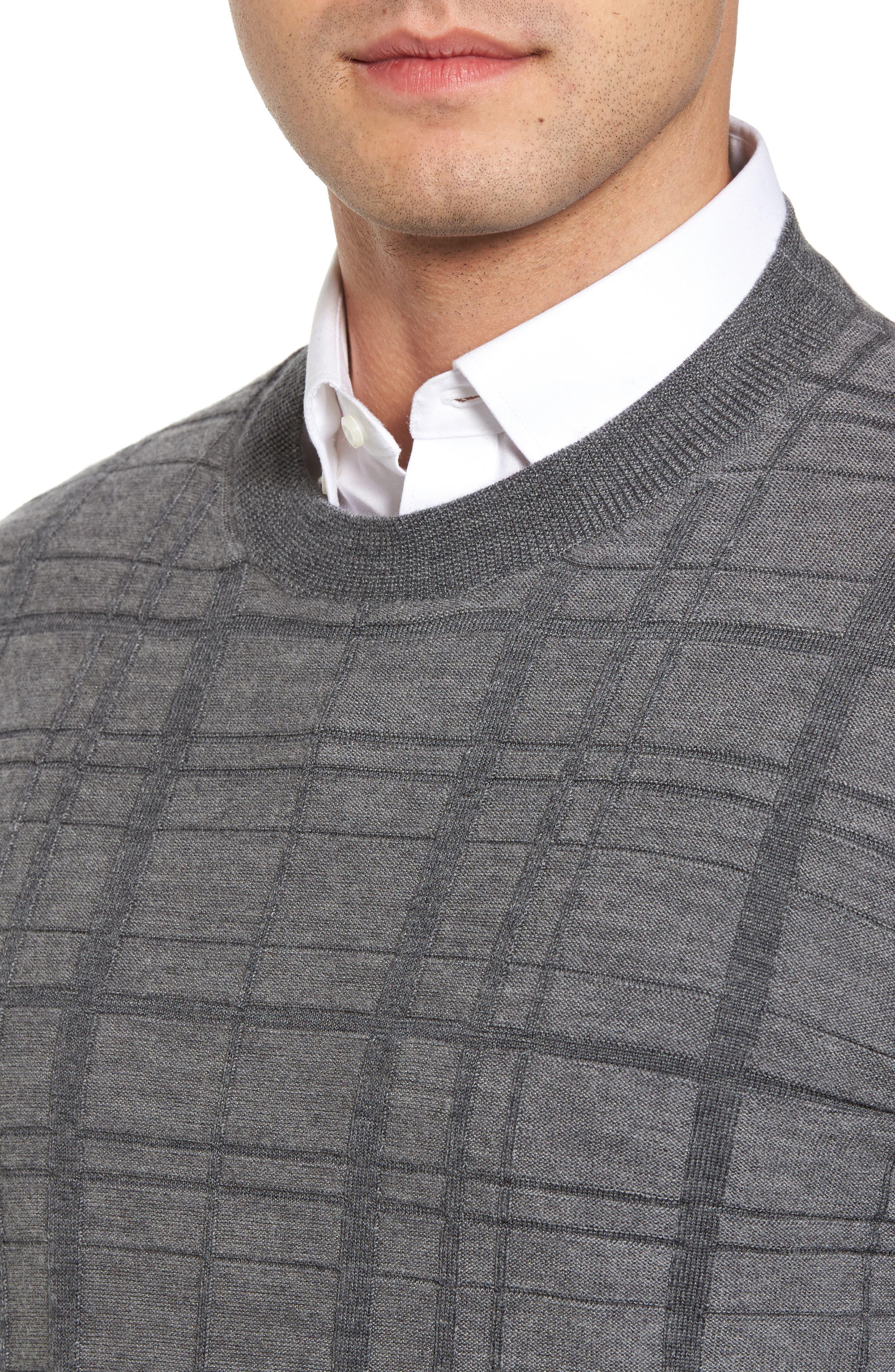 Alternate Image 4  - Bobby Jones Tonal Grid Wool Sweater