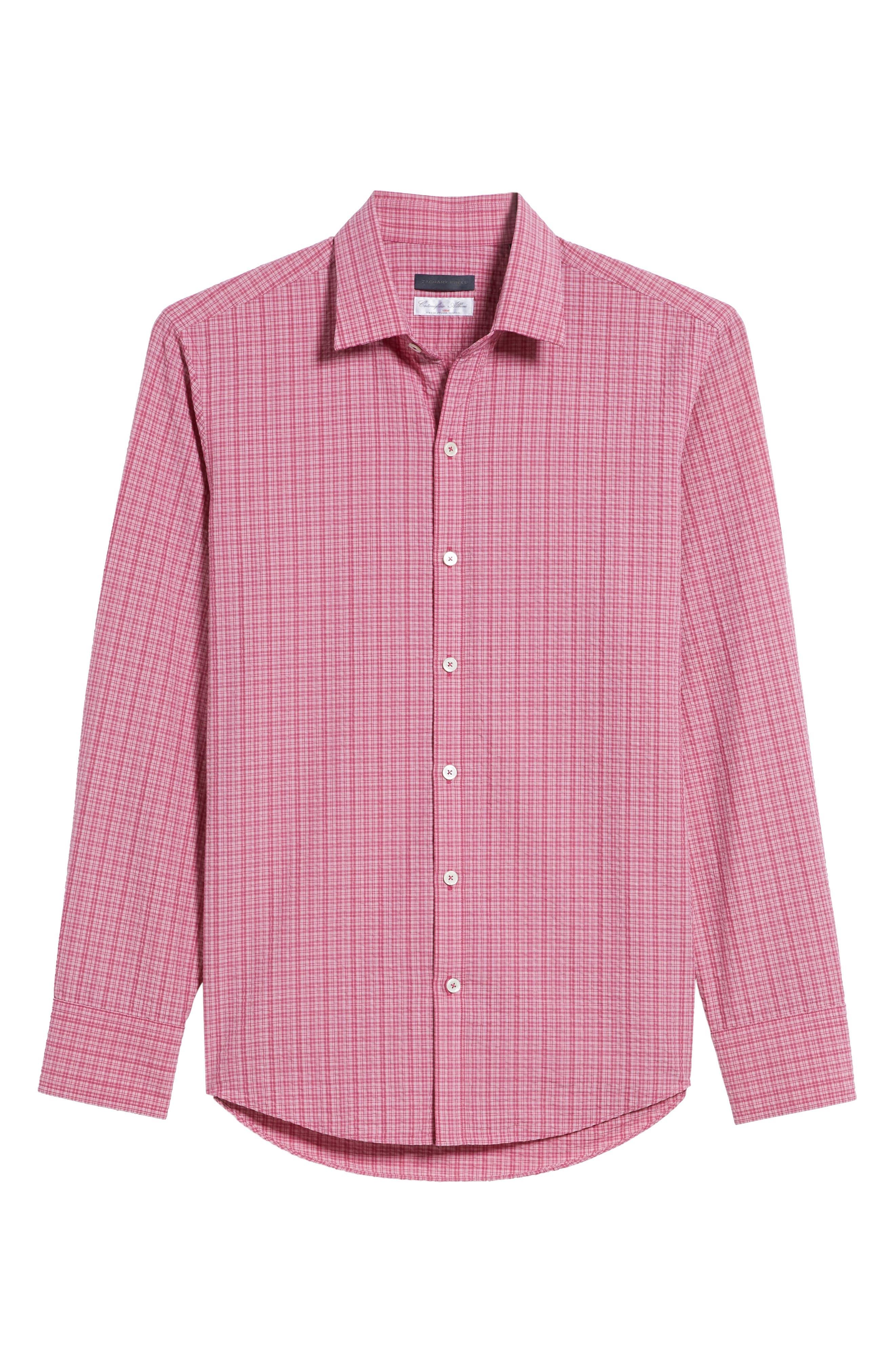 Italo Seersucker Woven Sport Shirt,                             Alternate thumbnail 6, color,                             Dark Pink