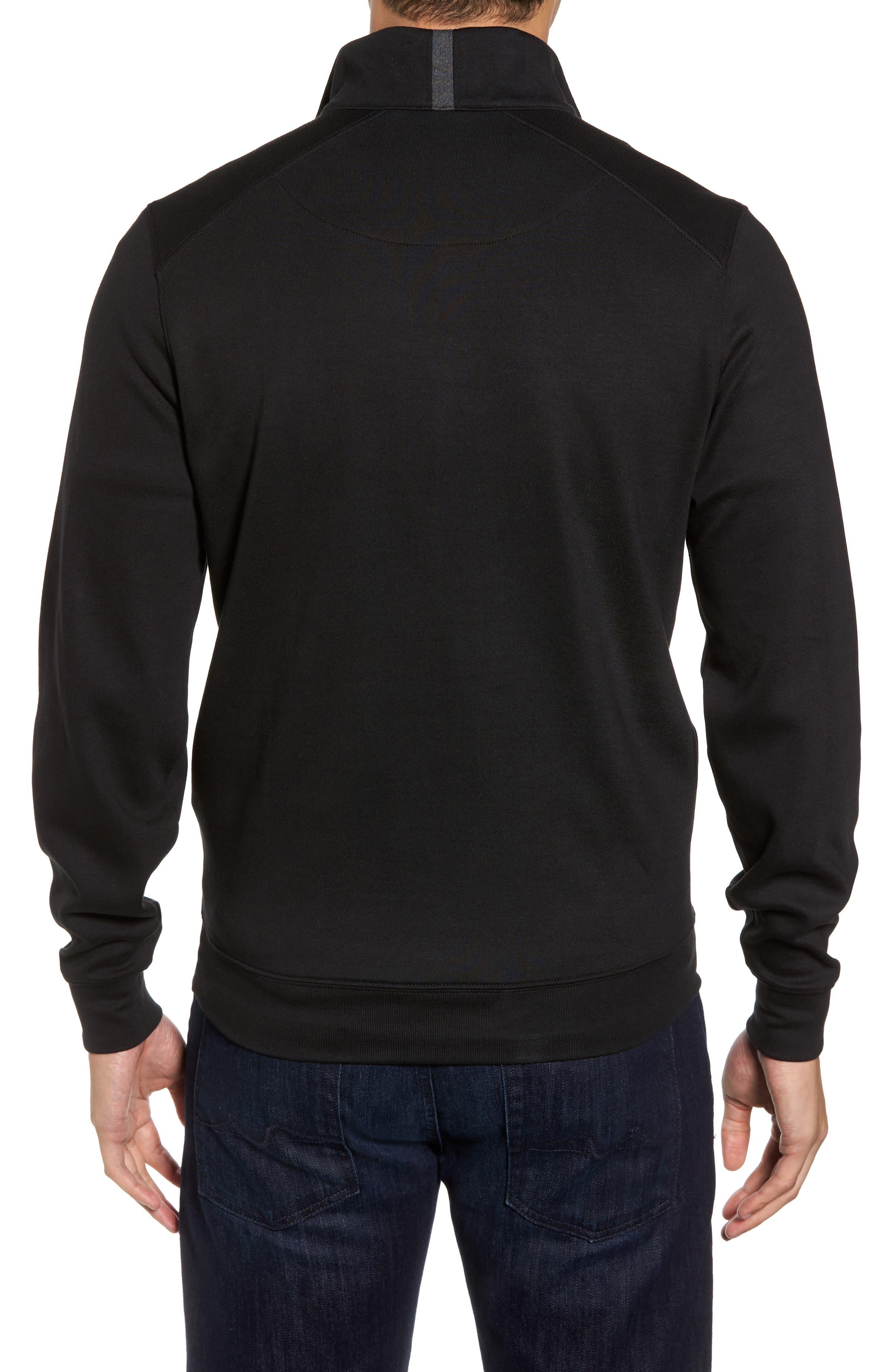 Interlock Knit Quarter Zip Pullover,                             Alternate thumbnail 2, color,                             Black