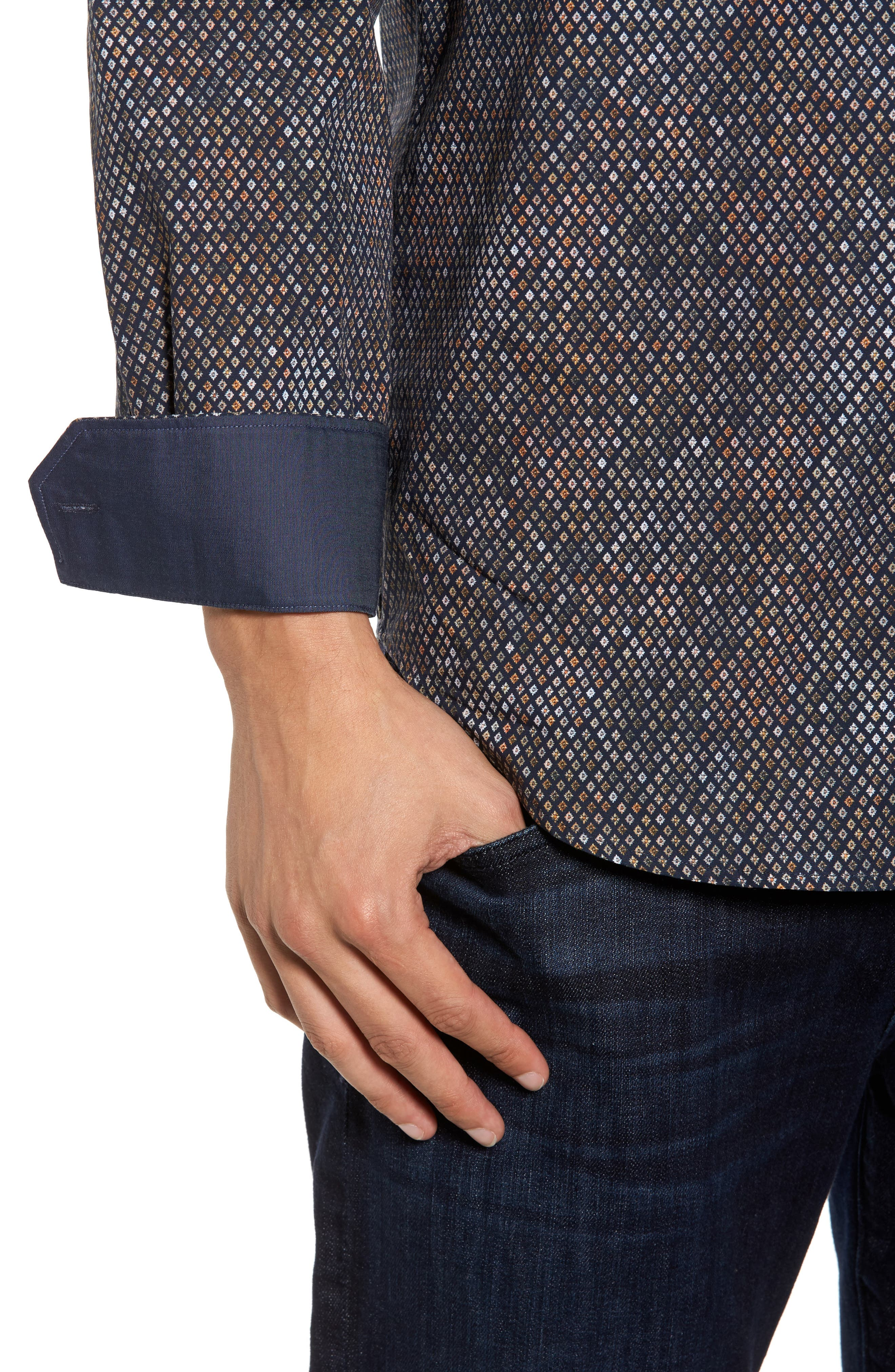 Classic Fit Floral Diamond Sport Shirt,                             Alternate thumbnail 4, color,                             Midnight