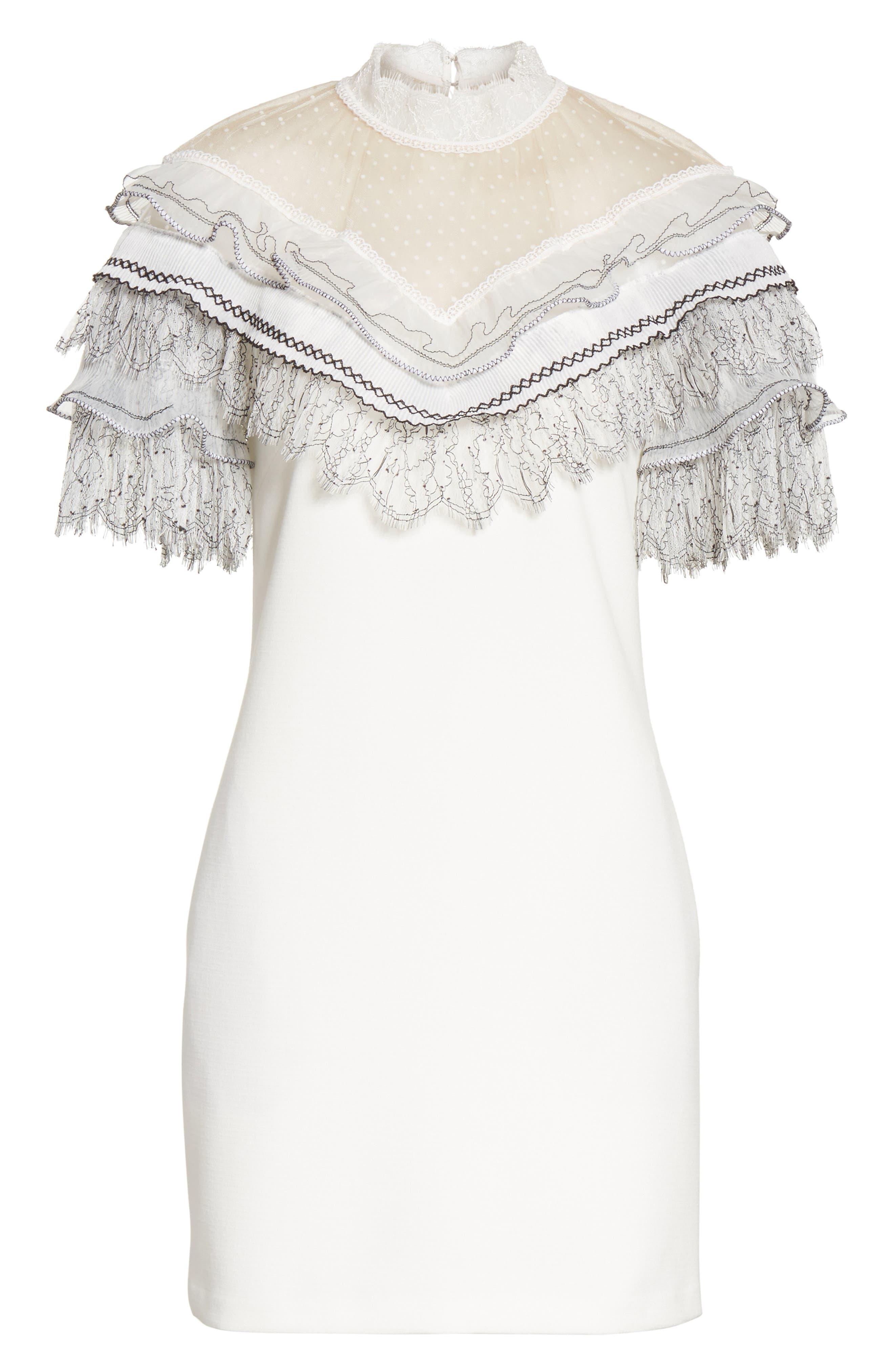 Pleated Lace Trim Minidress,                             Alternate thumbnail 6, color,                             Ivory