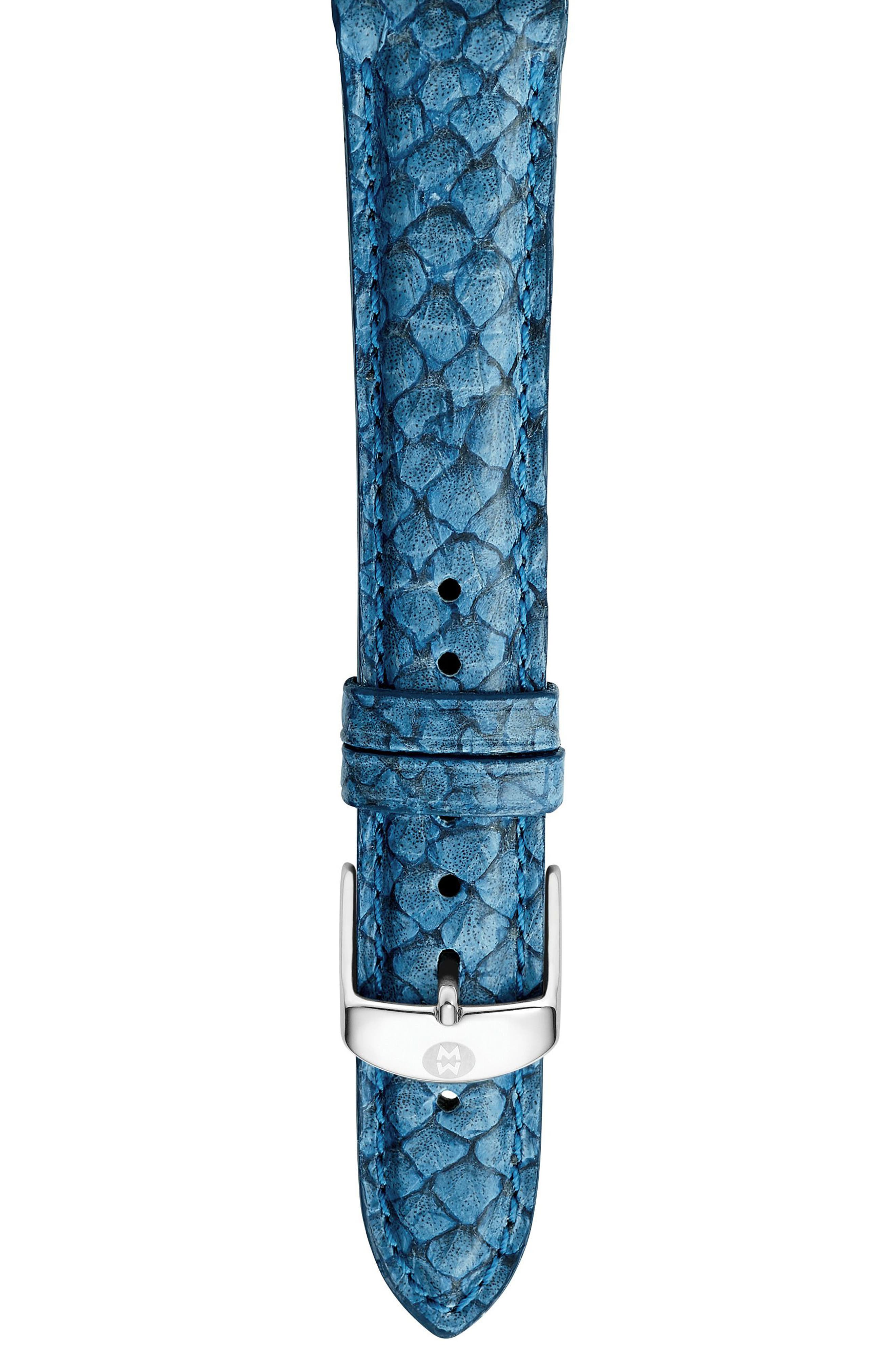Main Image - MICHELE 18mm Seamist Blue Fish Skin Watch Strap