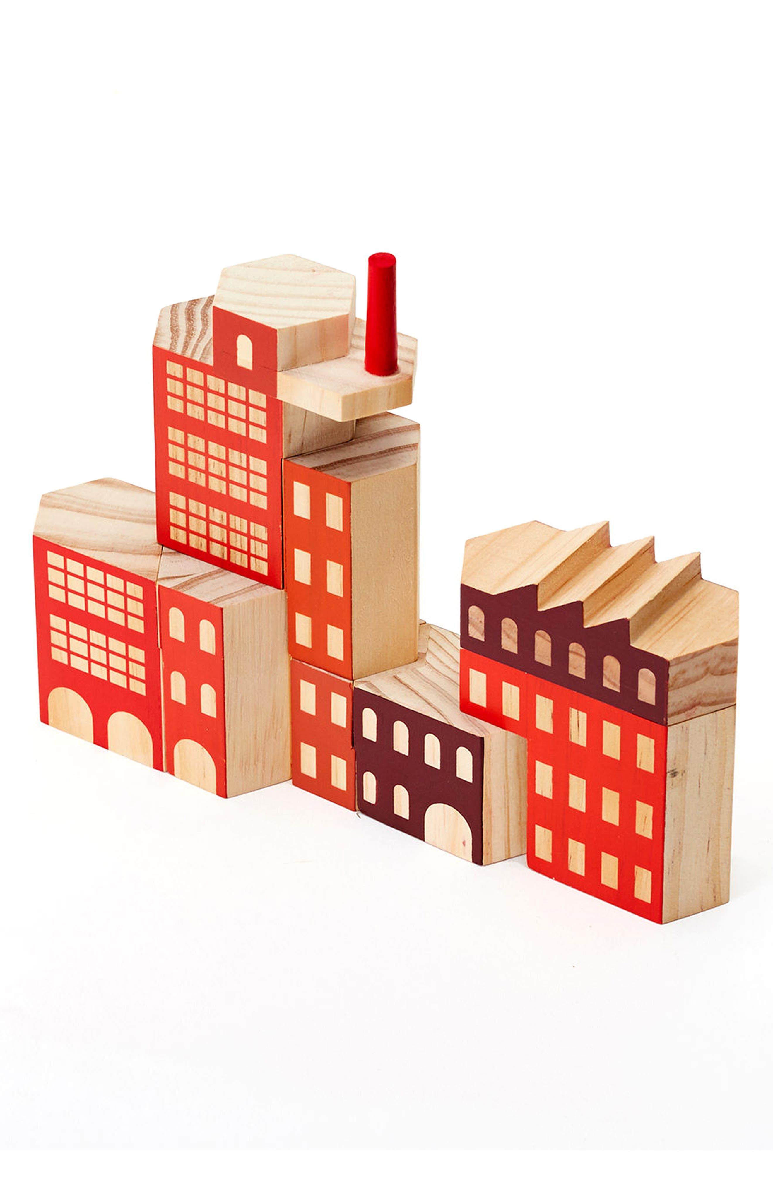 Areaware Blockitecture Factory 10-Piece Wooden Block Set