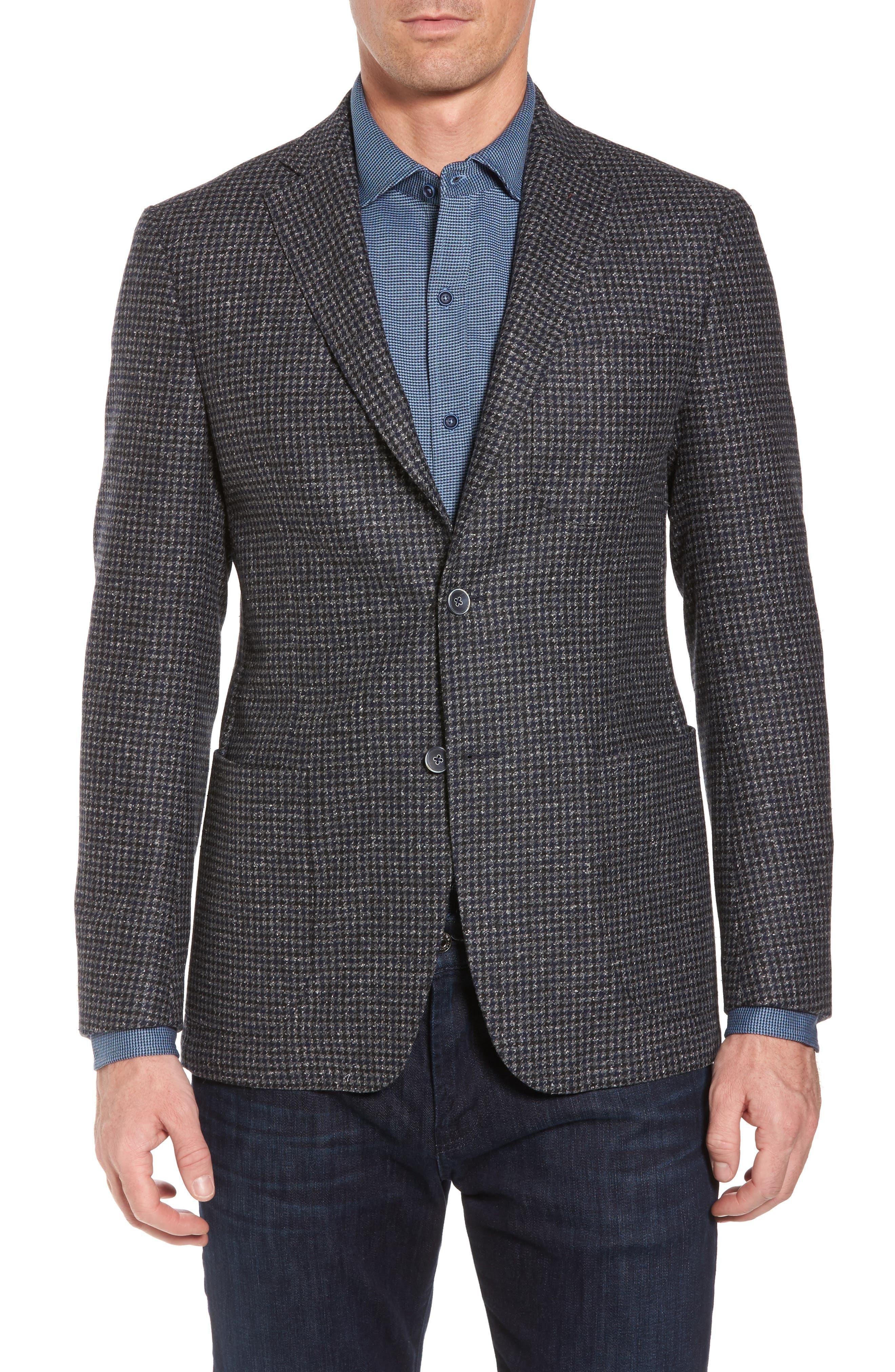 Wool Blend Houndstooth Blazer,                         Main,                         color, Navy