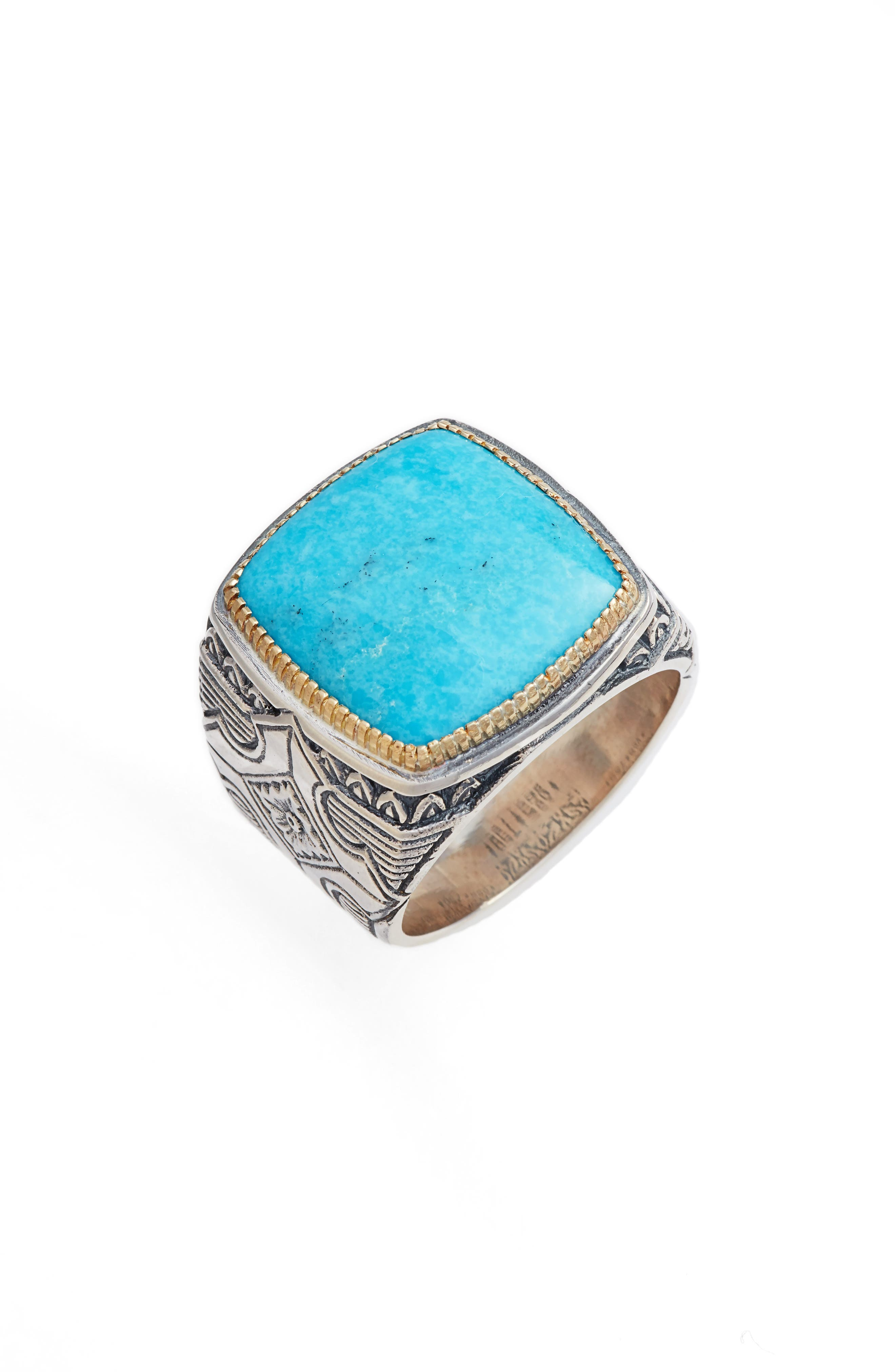 Heonos Square Turquoise Ring,                             Main thumbnail 1, color,                             Silver/ Gold/ Turquoise