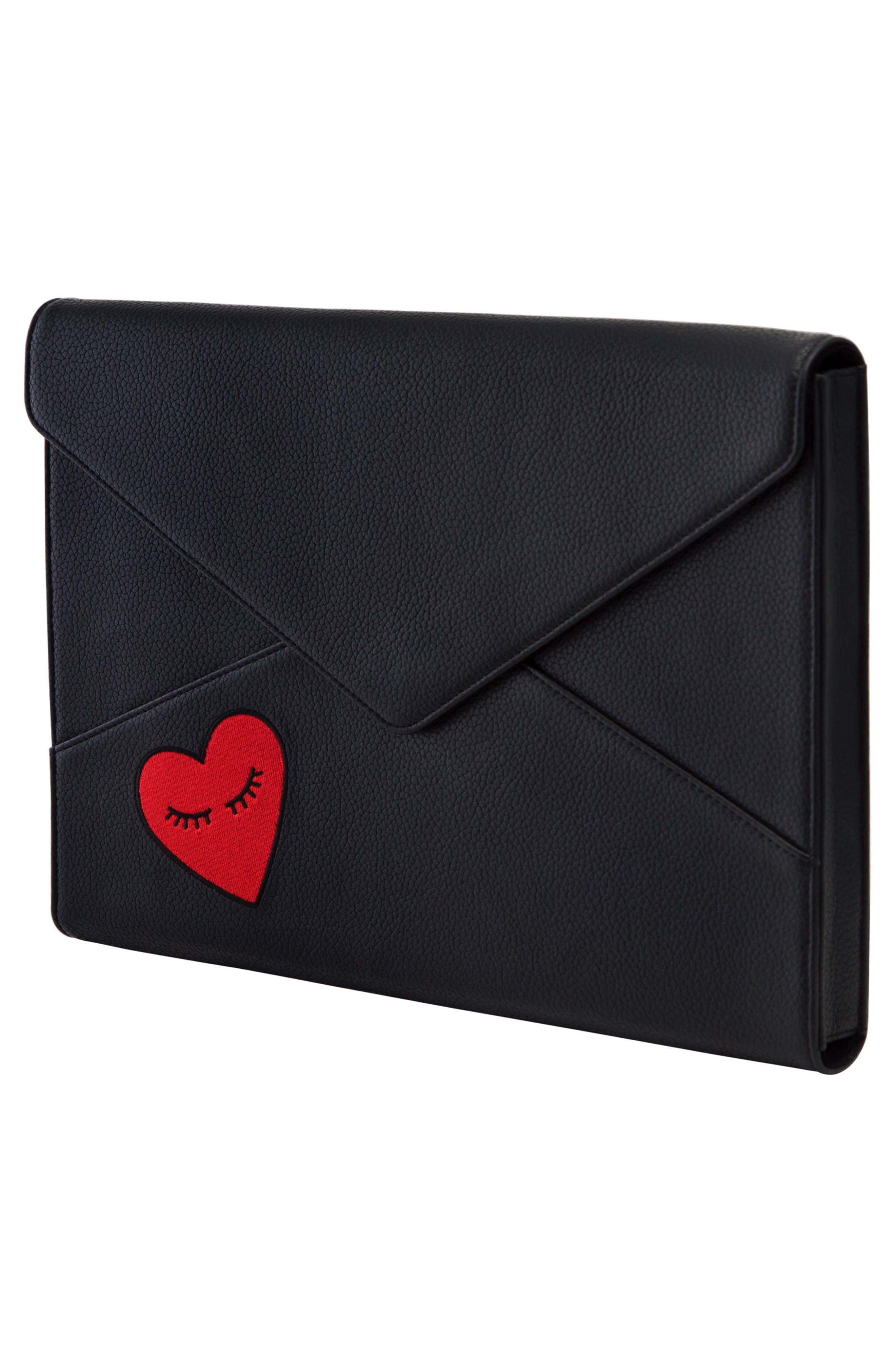 Fancy Heart Faux Leather Laptop Clutch,                             Alternate thumbnail 3, color,                             Black