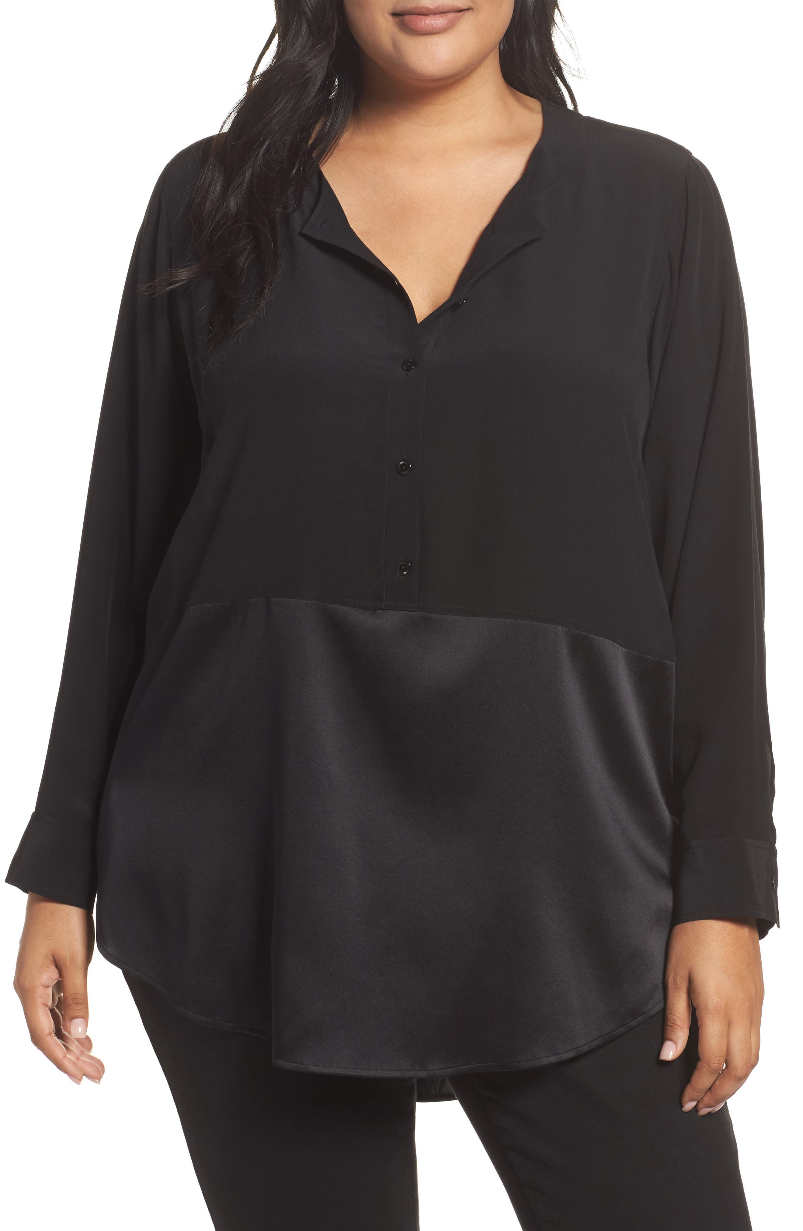 Mixed Media Stretch Silk Top,                         Main,                         color, Black