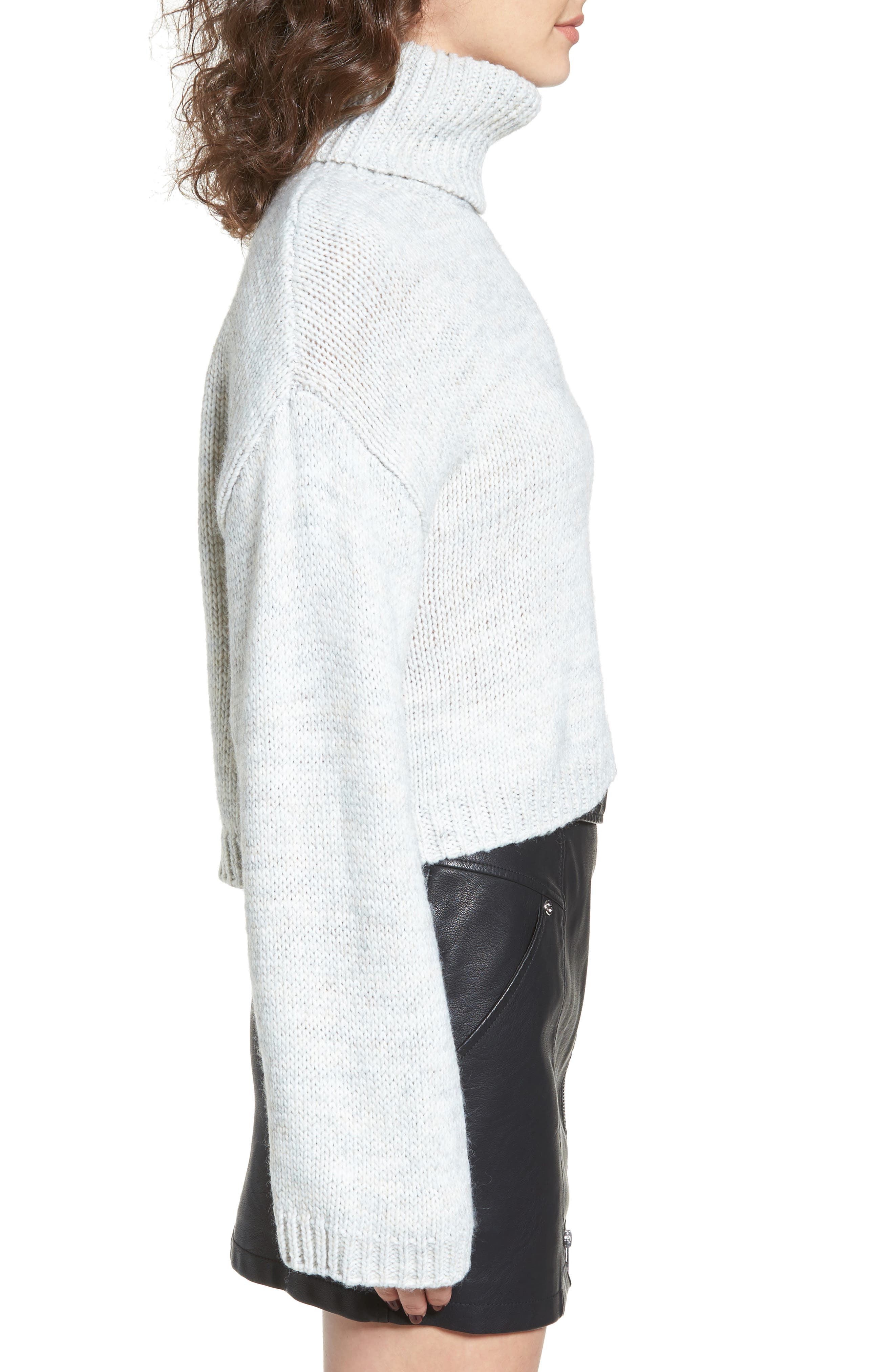 Skelter Turtleneck Sweater,                             Alternate thumbnail 3, color,                             Heather Grey