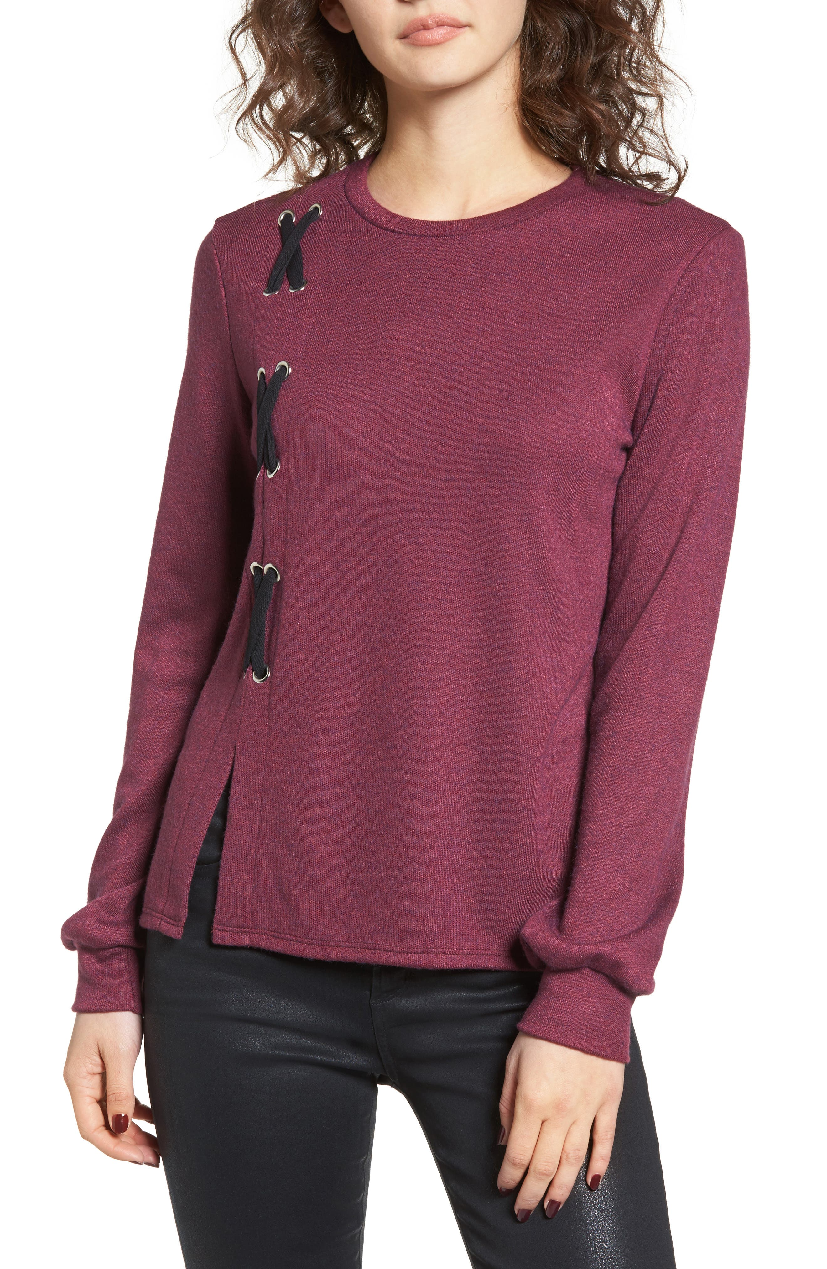 Lace-Up Sweater,                             Main thumbnail 1, color,                             Burgundy