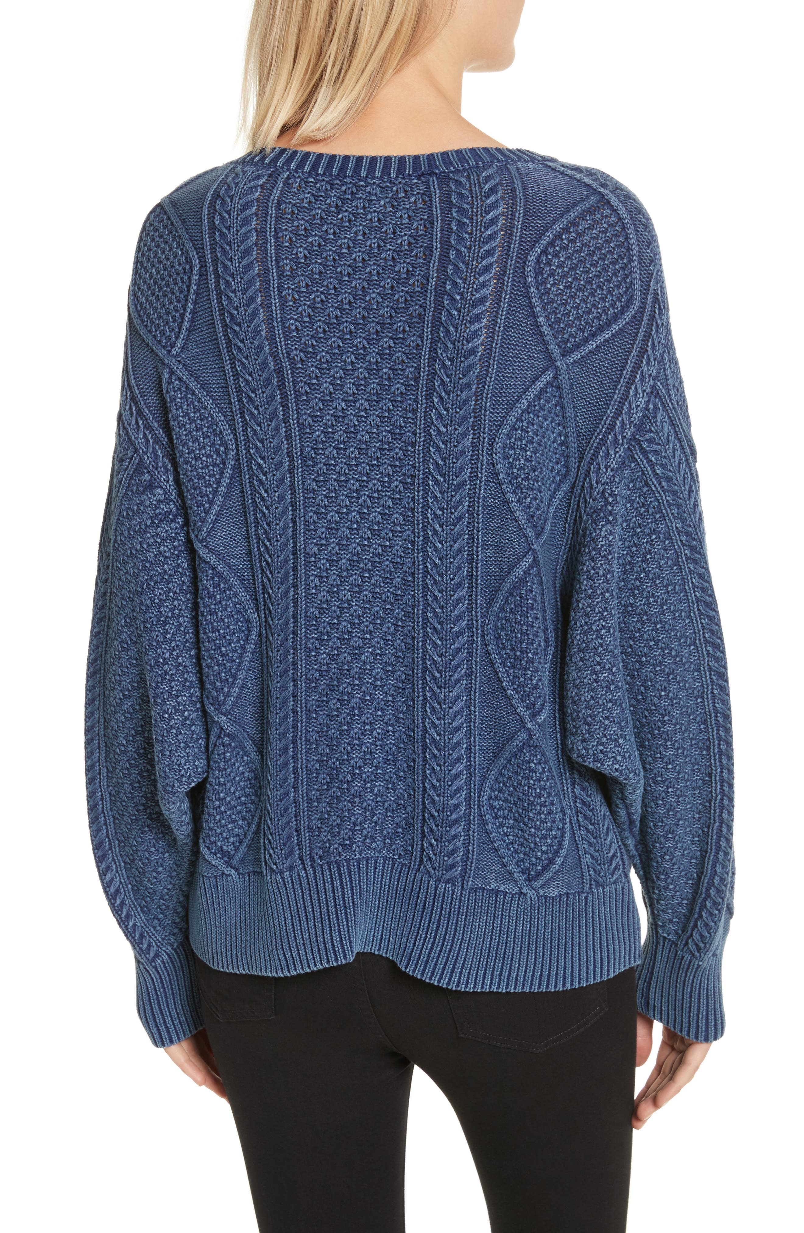 Harper Cable Knit Sweater,                             Alternate thumbnail 2, color,                             Indigo