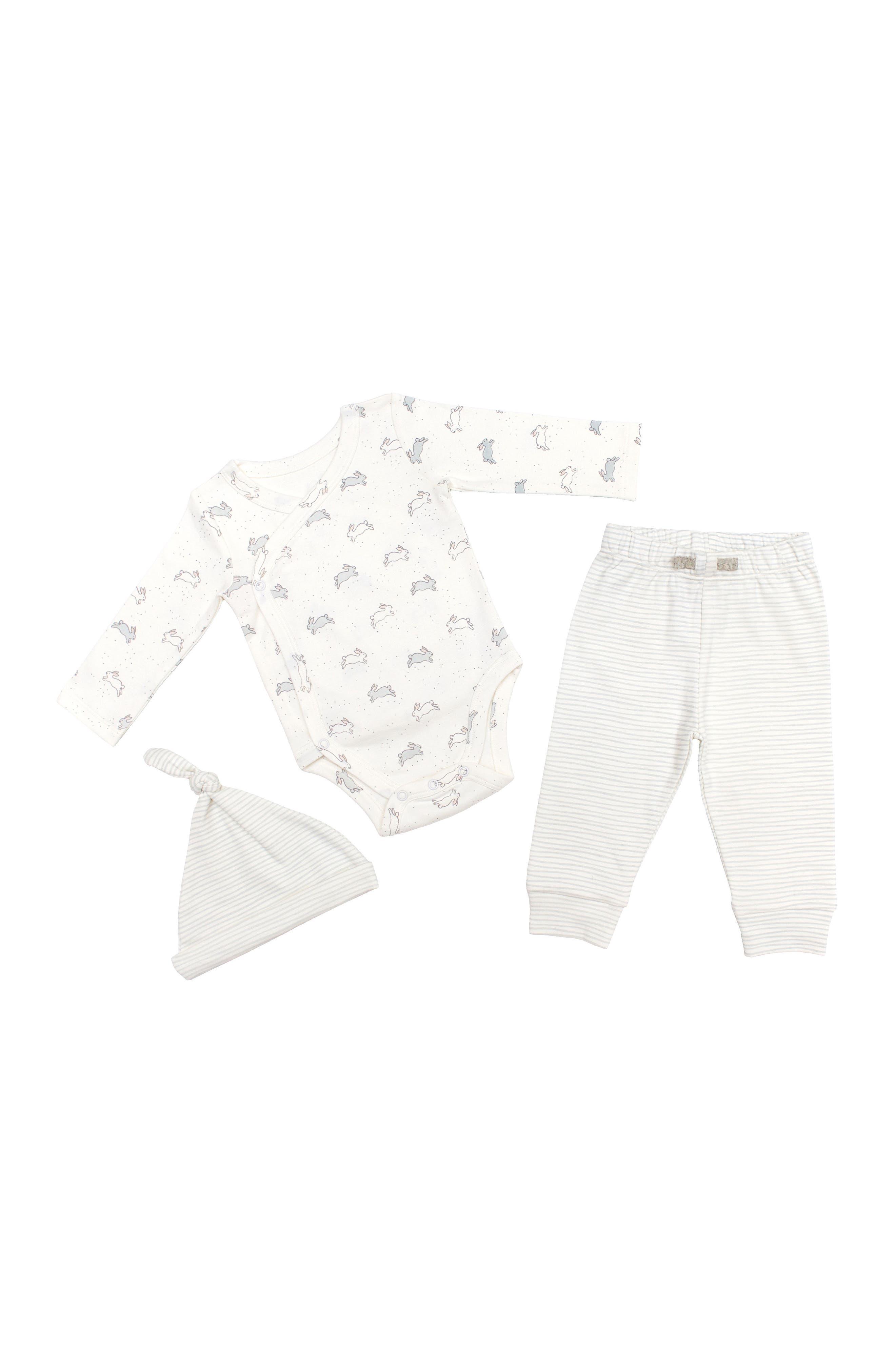 Petit Pehr Tiny Bunny Bodysuit, Pants & Hat Set (Baby)