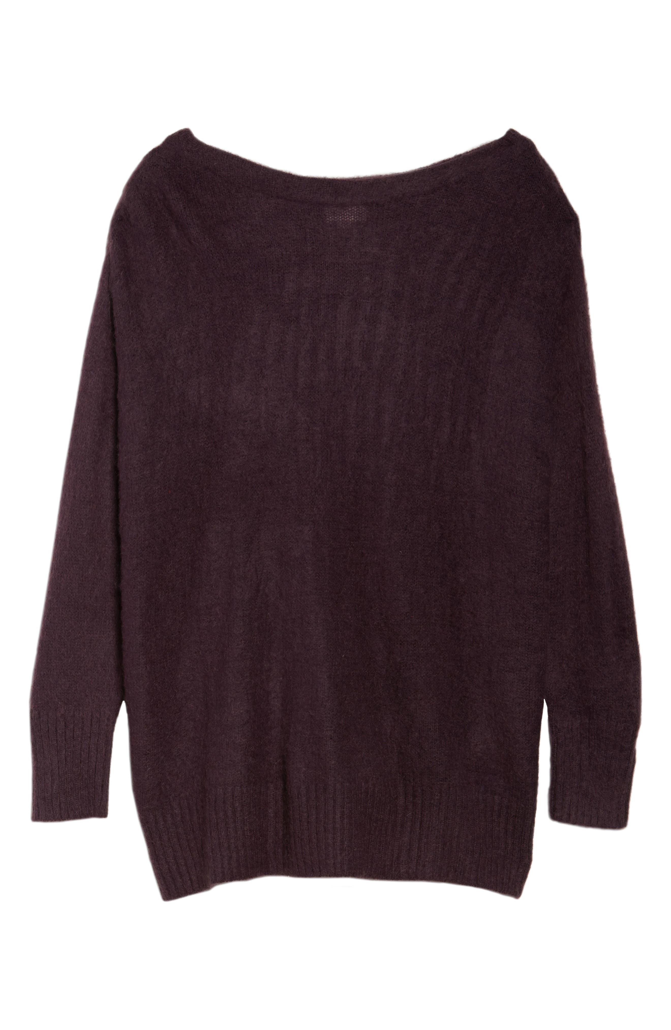 Long Sleeve Brushed Sweater,                             Alternate thumbnail 6, color,                             Purple Plum