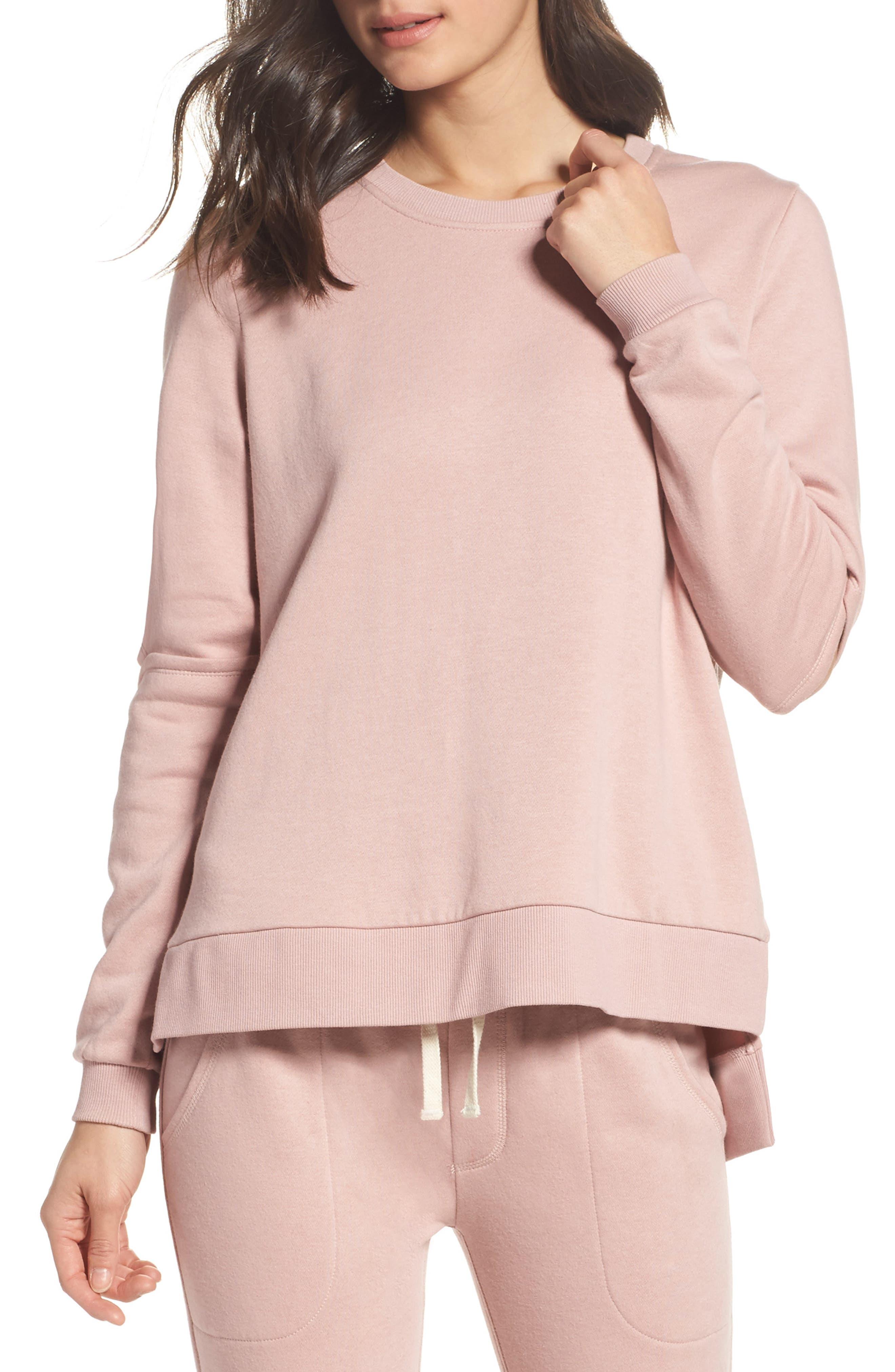 Cutout Sweatshirt,                         Main,                         color, Rose Quartz