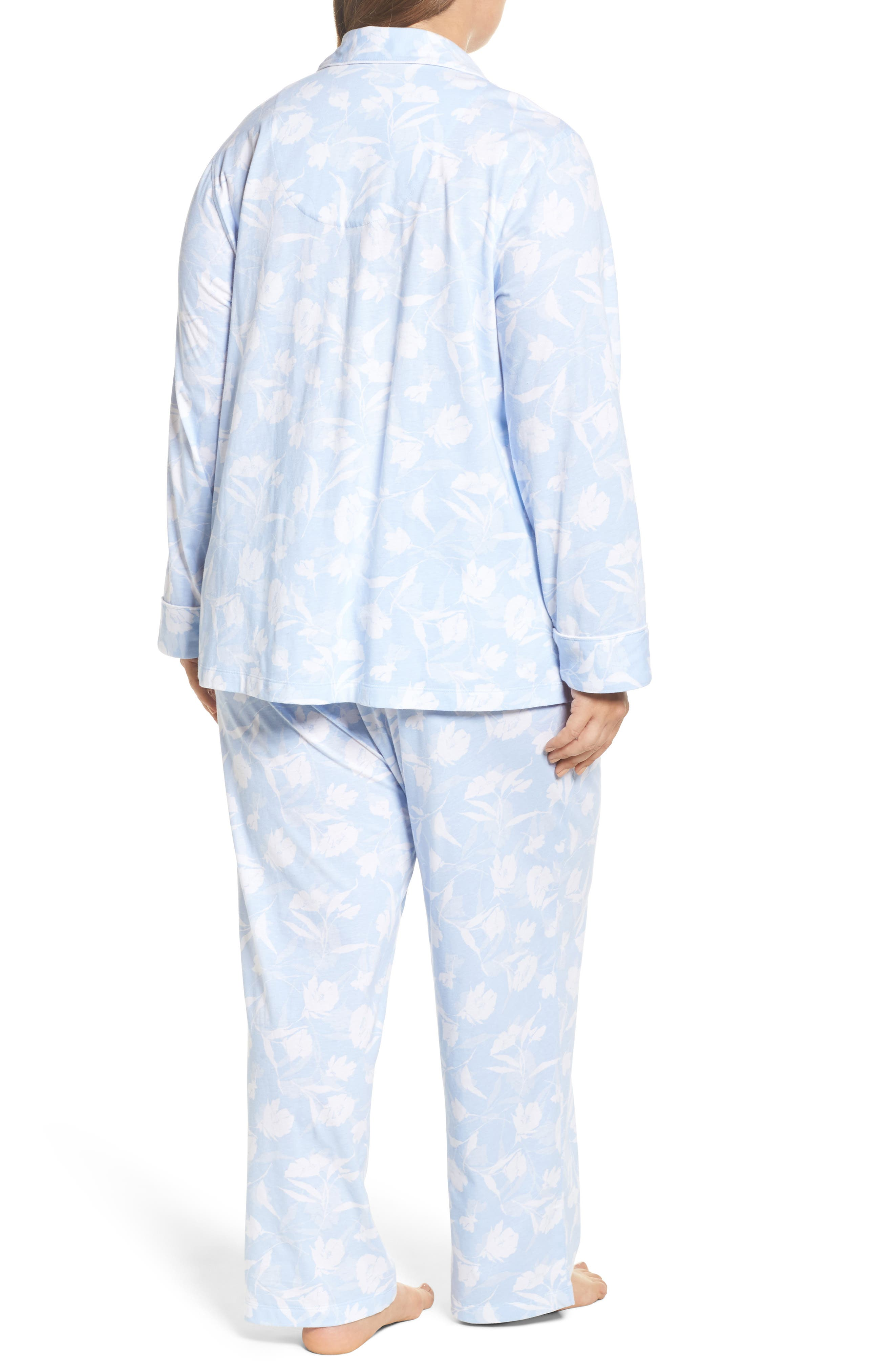 Floral Print Jersey Pajamas,                             Alternate thumbnail 2, color,                             Blue Monotone Floral