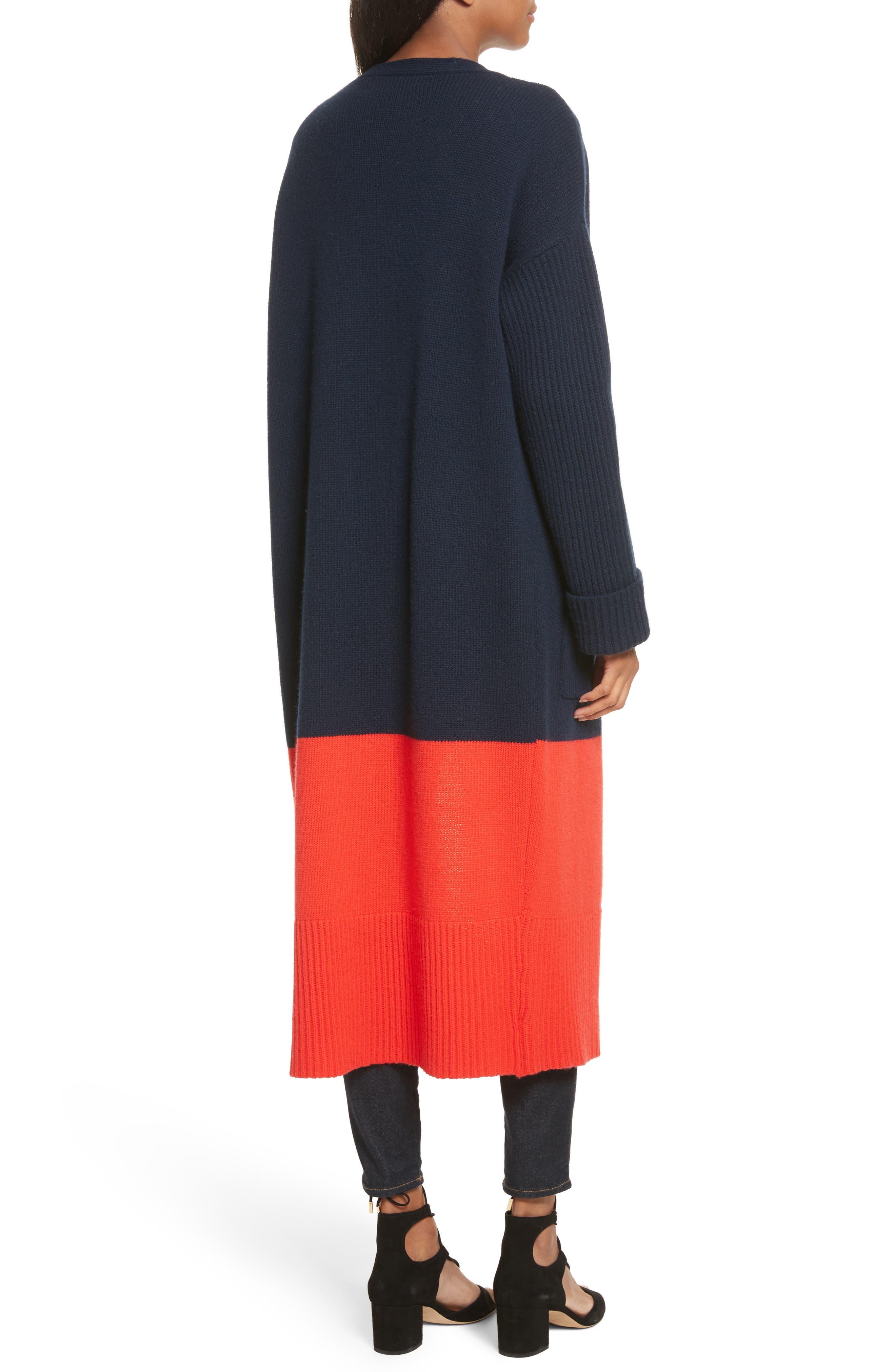 Babur Colorblock Long Wool Cardigan,                             Alternate thumbnail 2, color,                             Navy W/ Red