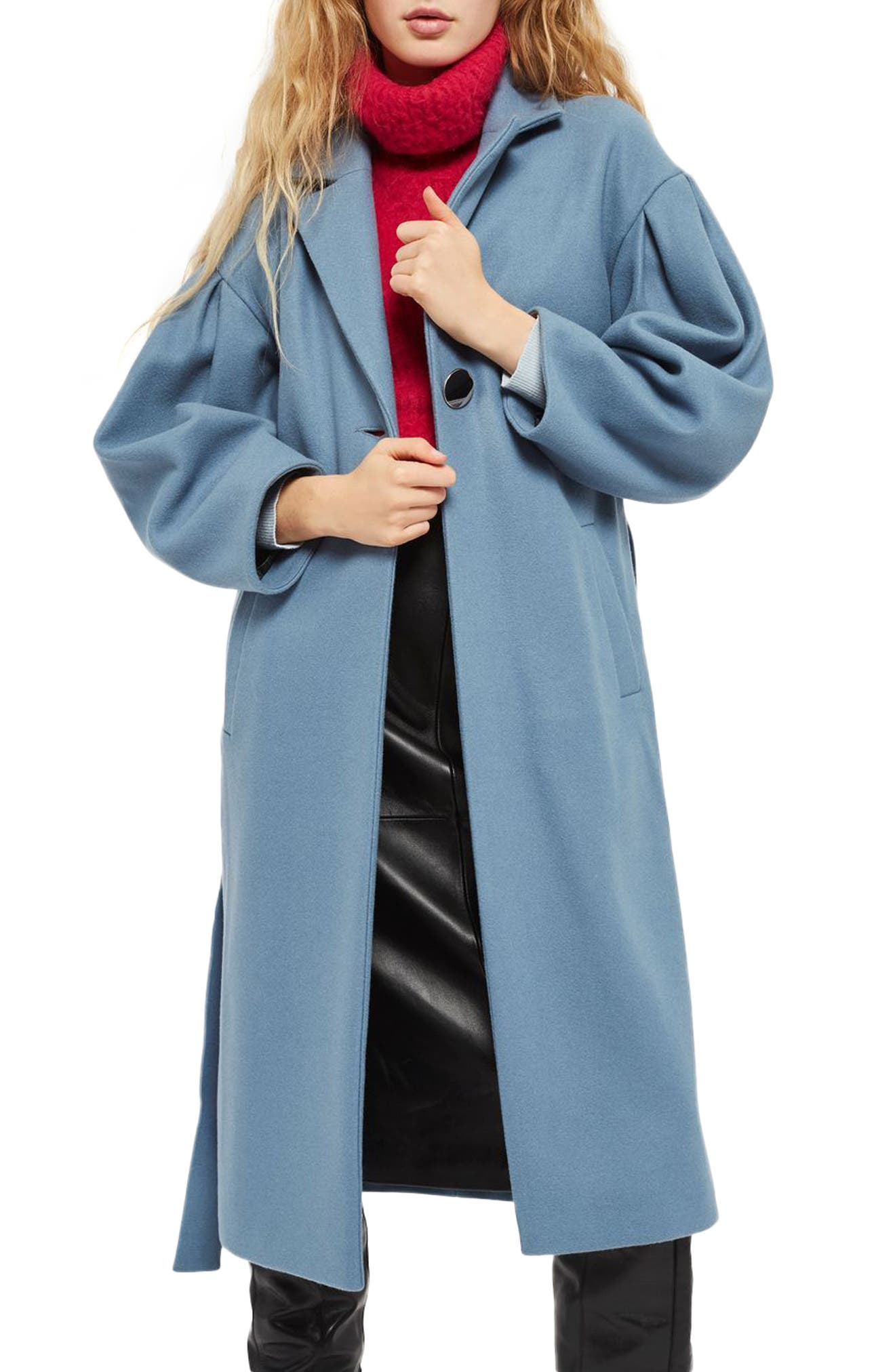 Topshop Mutton Sleeve Belted Long Coat