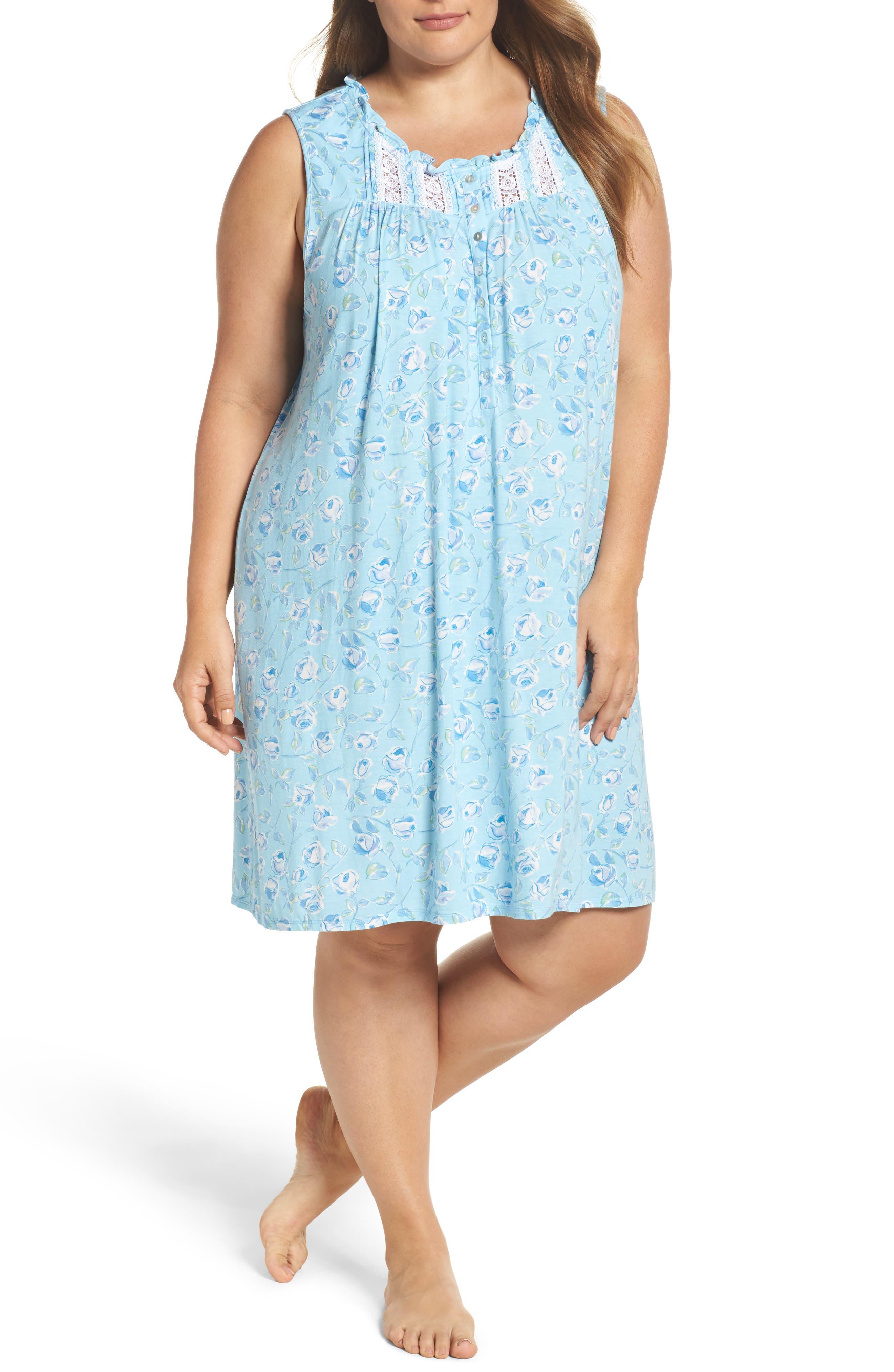 Short Nightgown,                             Main thumbnail 1, color,                             Light Seaglass/ Multi Roses