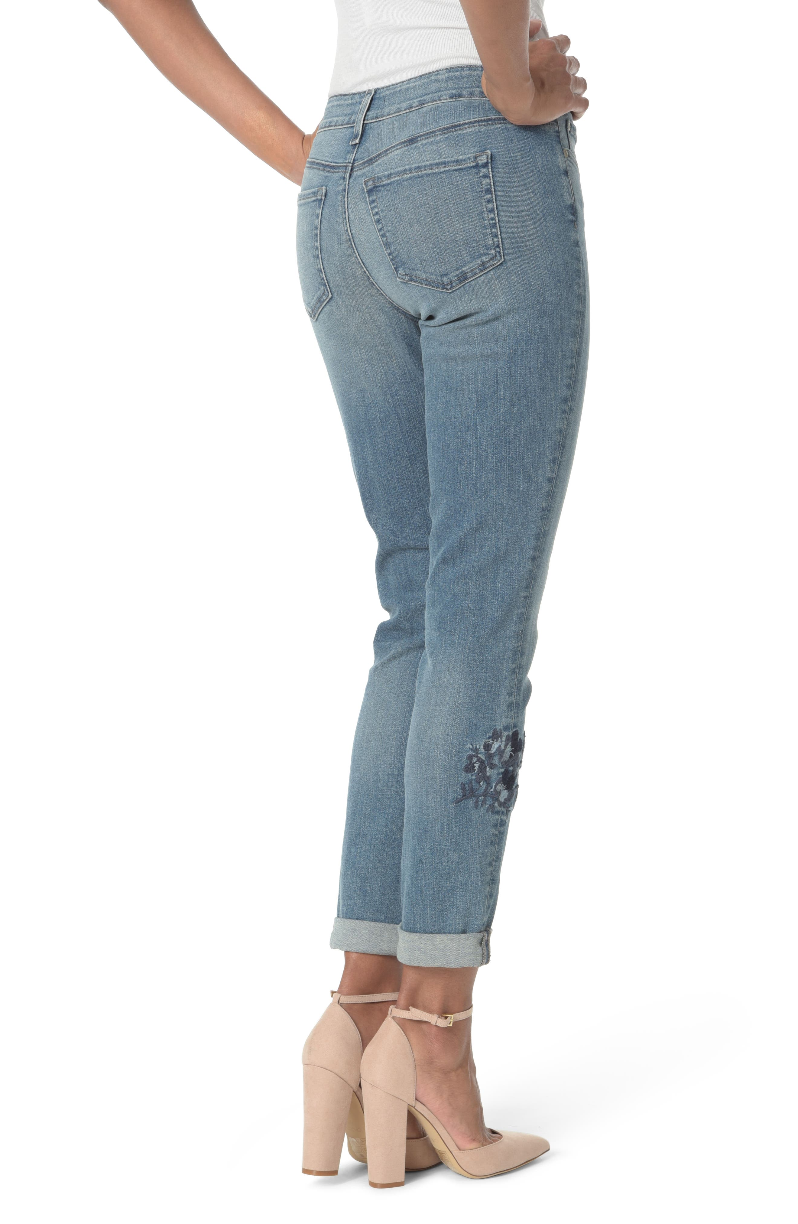 Alternate Image 2  - NYDJ Embroidered Boyfriend Jeans (Pacific)