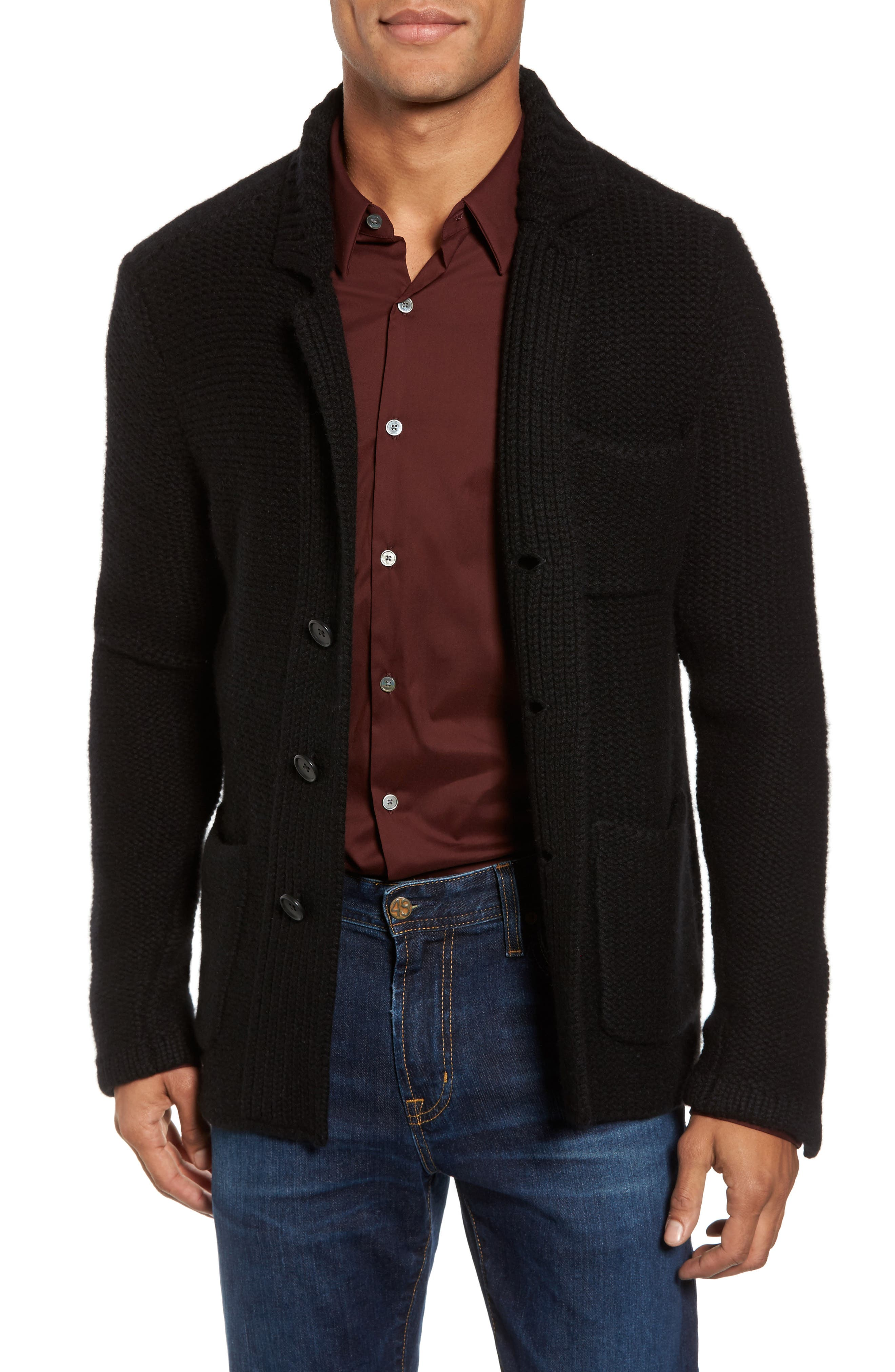 Chunky Knit Cashmere Cardigan,                         Main,                         color, Black