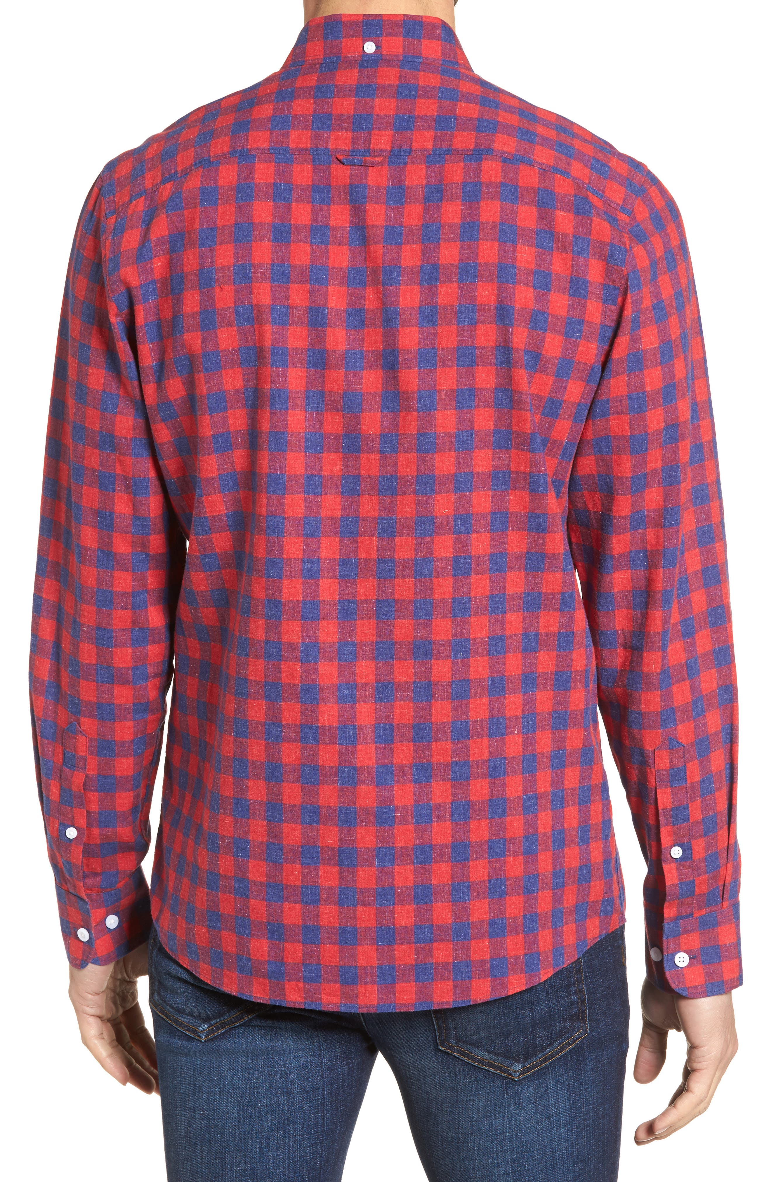Spade Trim Fit Check Sport Shirt,                             Alternate thumbnail 2, color,                             Red Chili Blue Check
