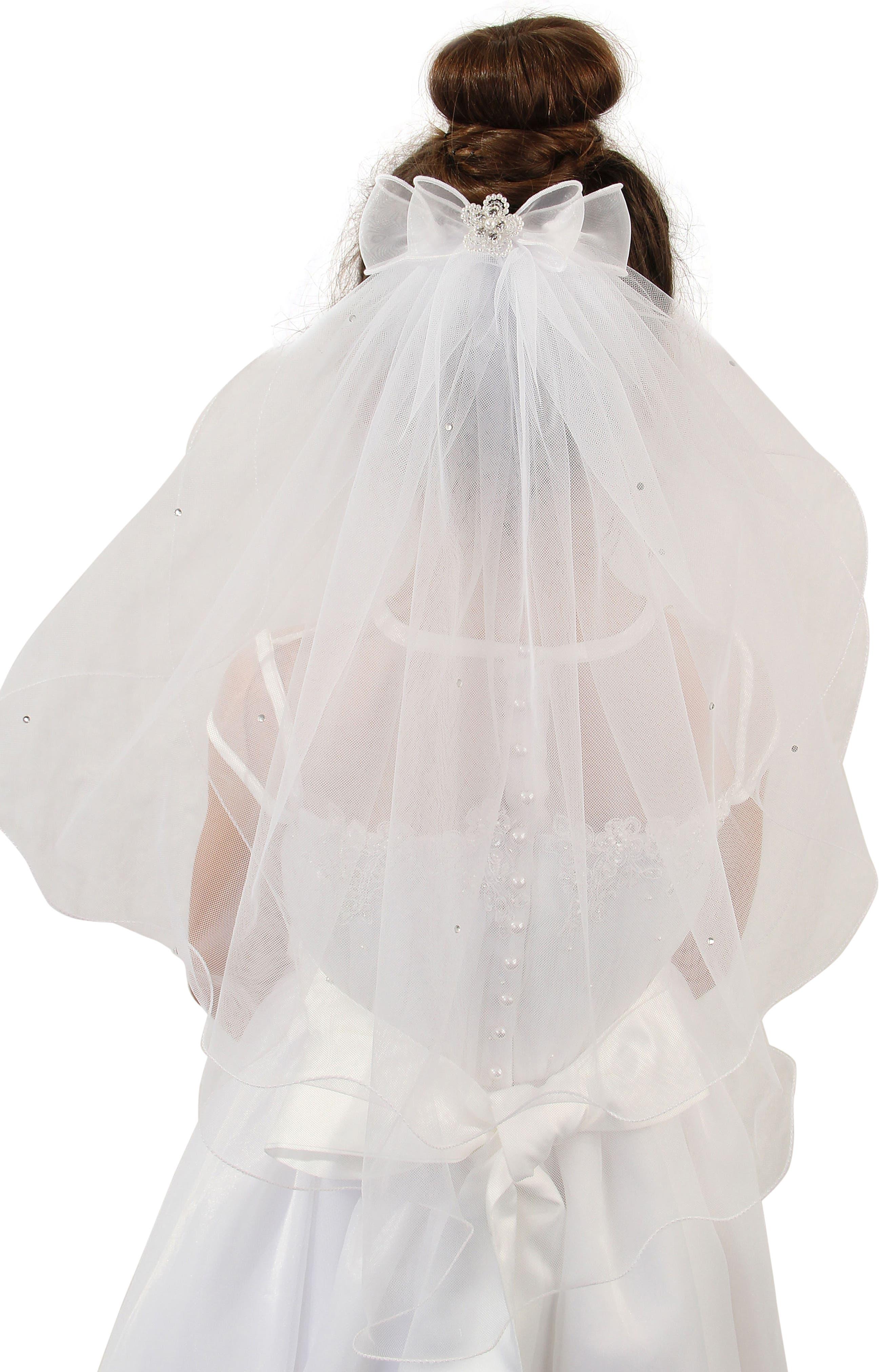 Alternate Image 3  - Lauren Marie Beaded Bow & Veil (Big Girls)