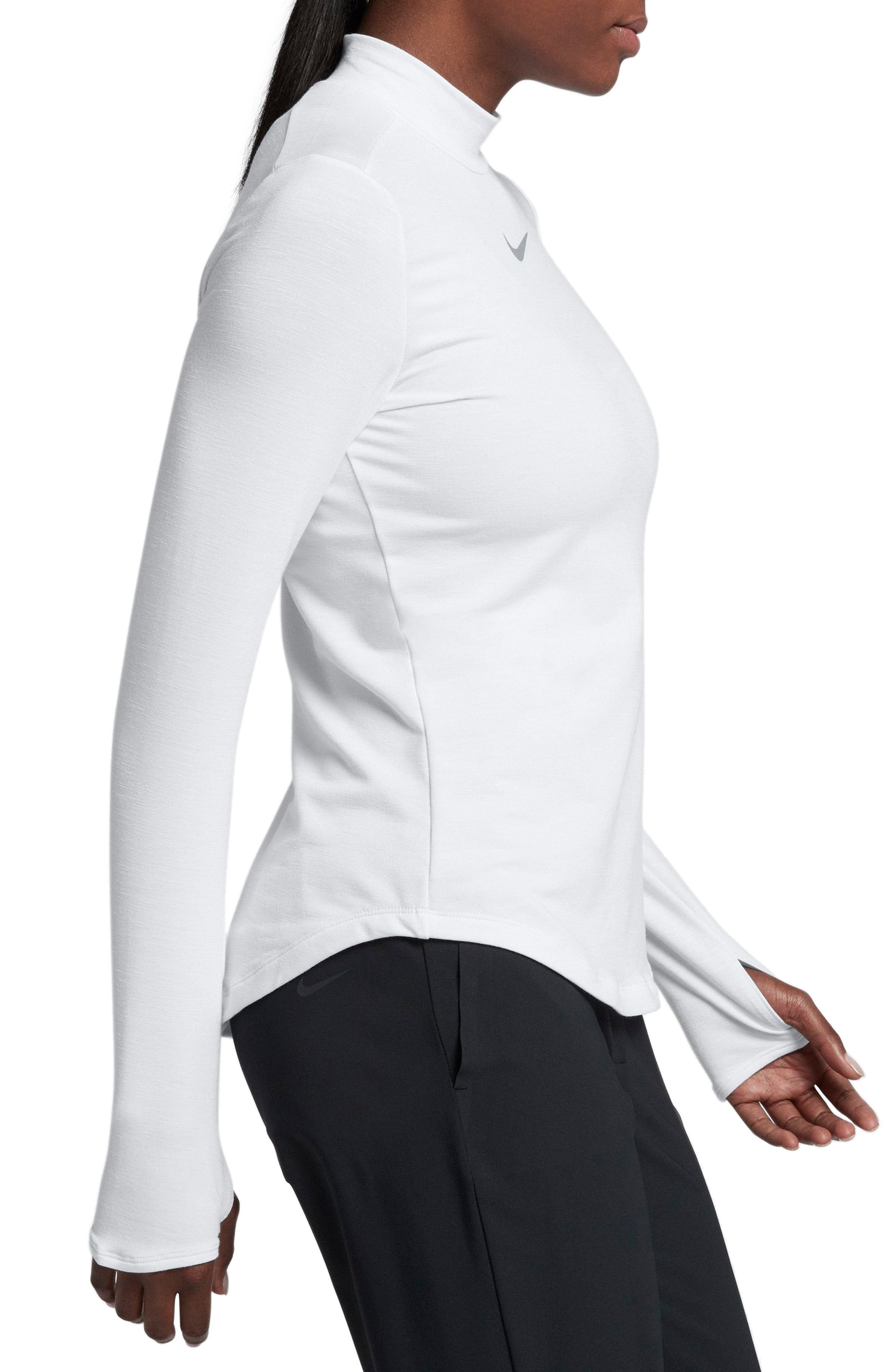 Dry Long Sleeve Golf Top,                             Alternate thumbnail 3, color,                             White