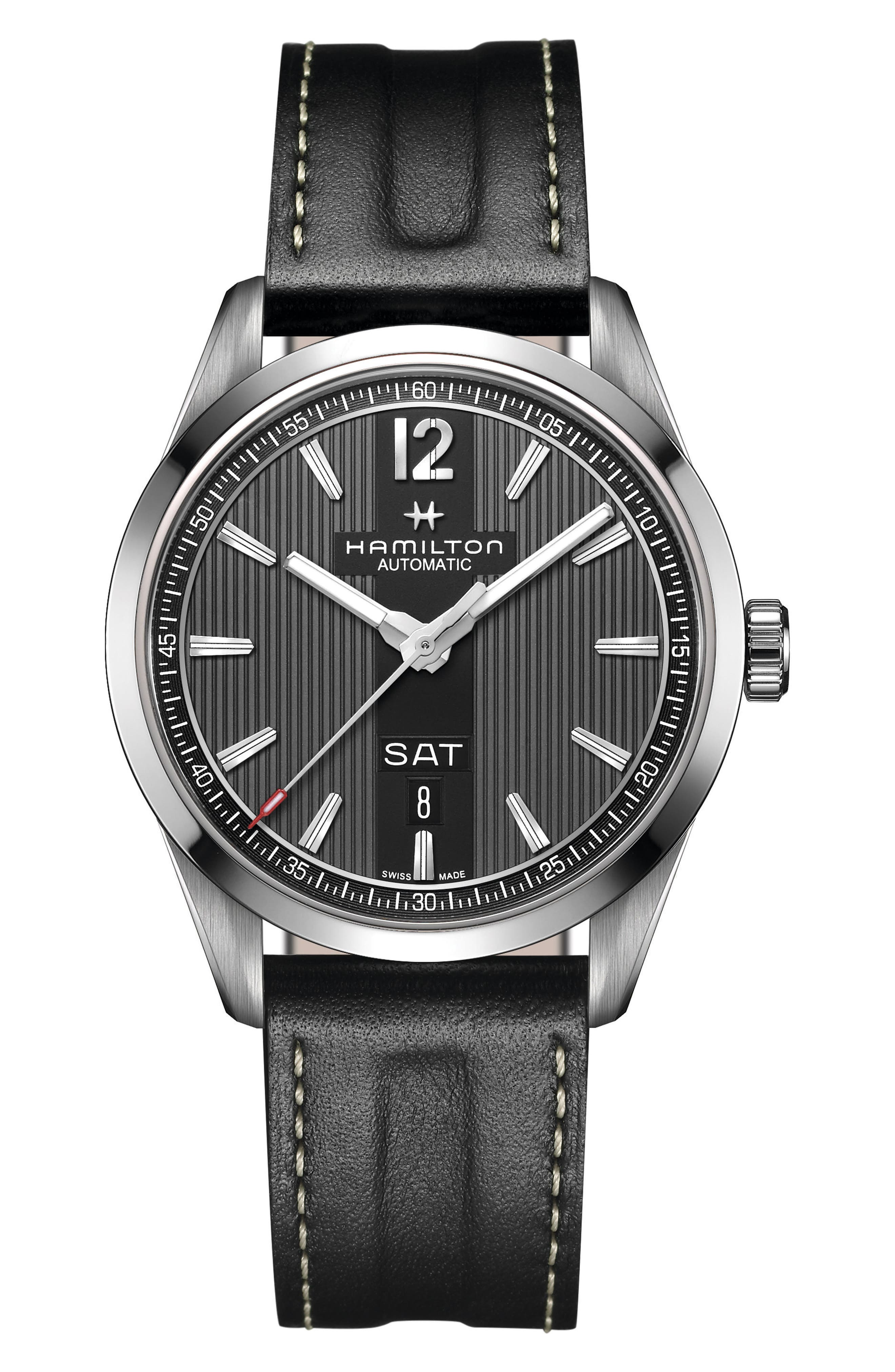 American Classic Broadway Automatic Leather Strap Watch, 38mm,                             Main thumbnail 1, color,                             Black/ Silver/ Dark Grey