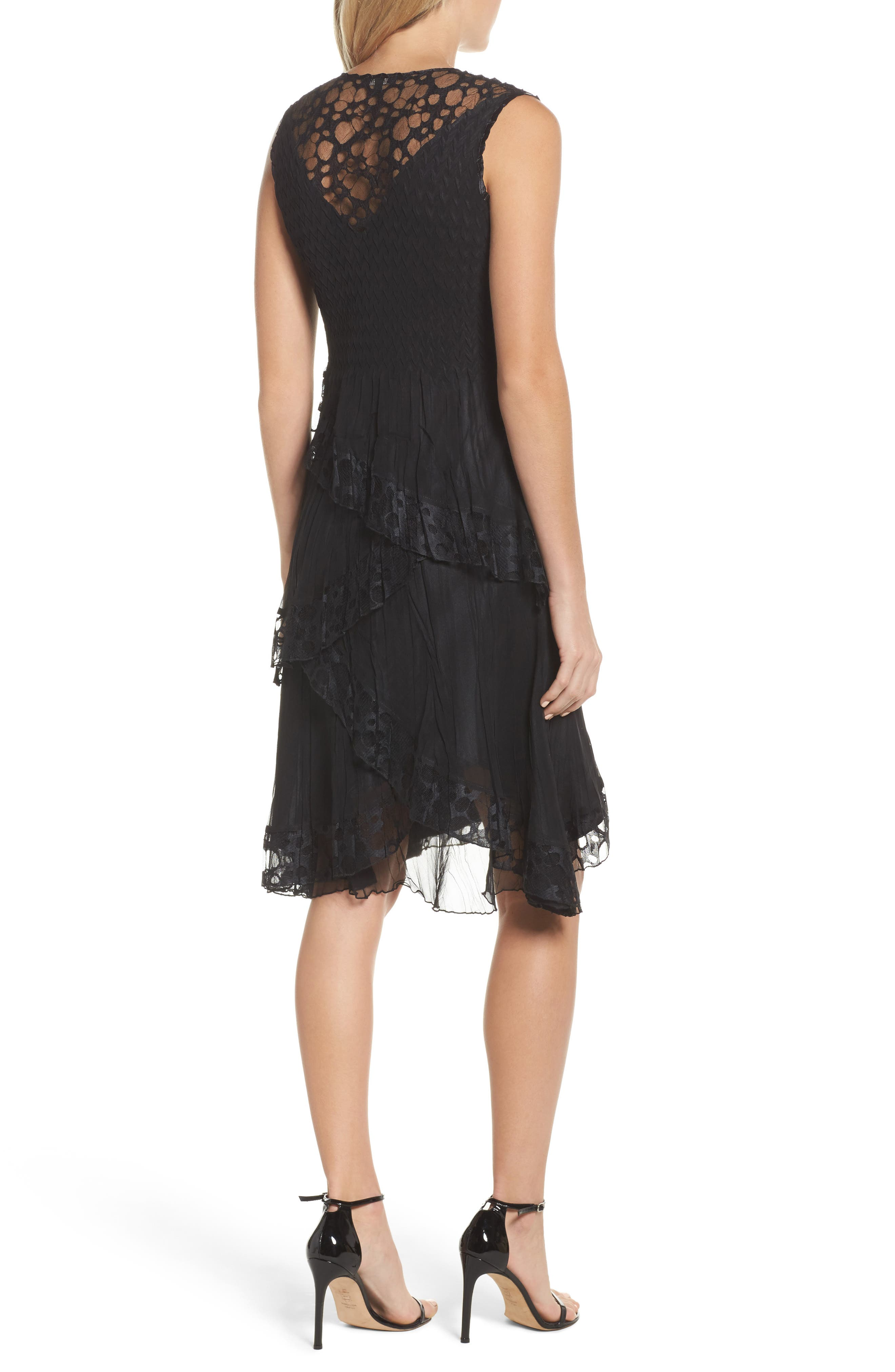 Circle Lace Tiered Dress with Wrap,                             Alternate thumbnail 2, color,                             Black