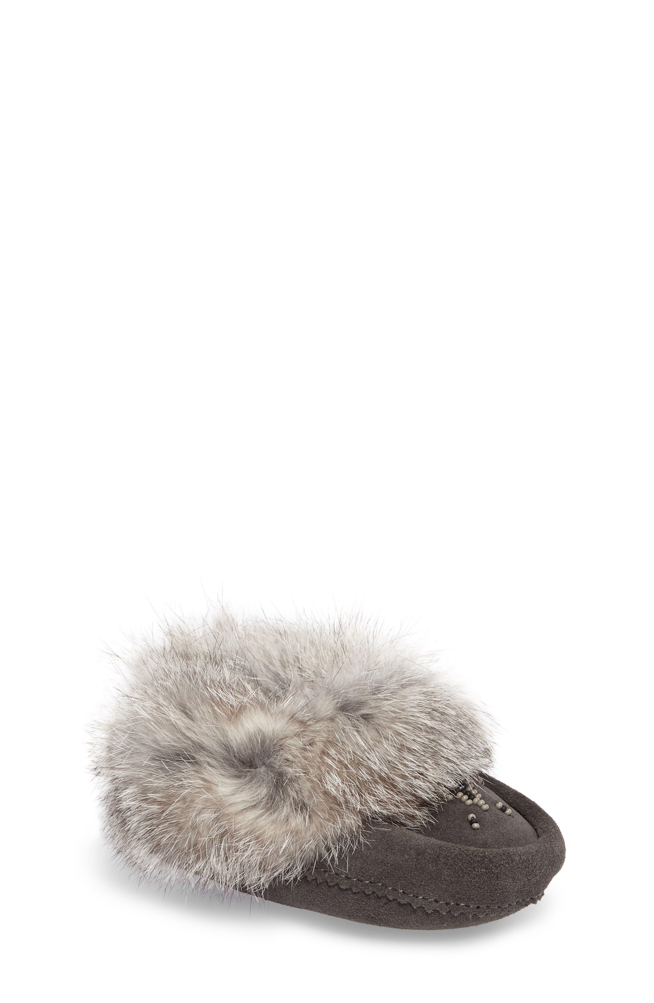 Genuine Rabbit Fur Moccasin,                         Main,                         color, Charcoal