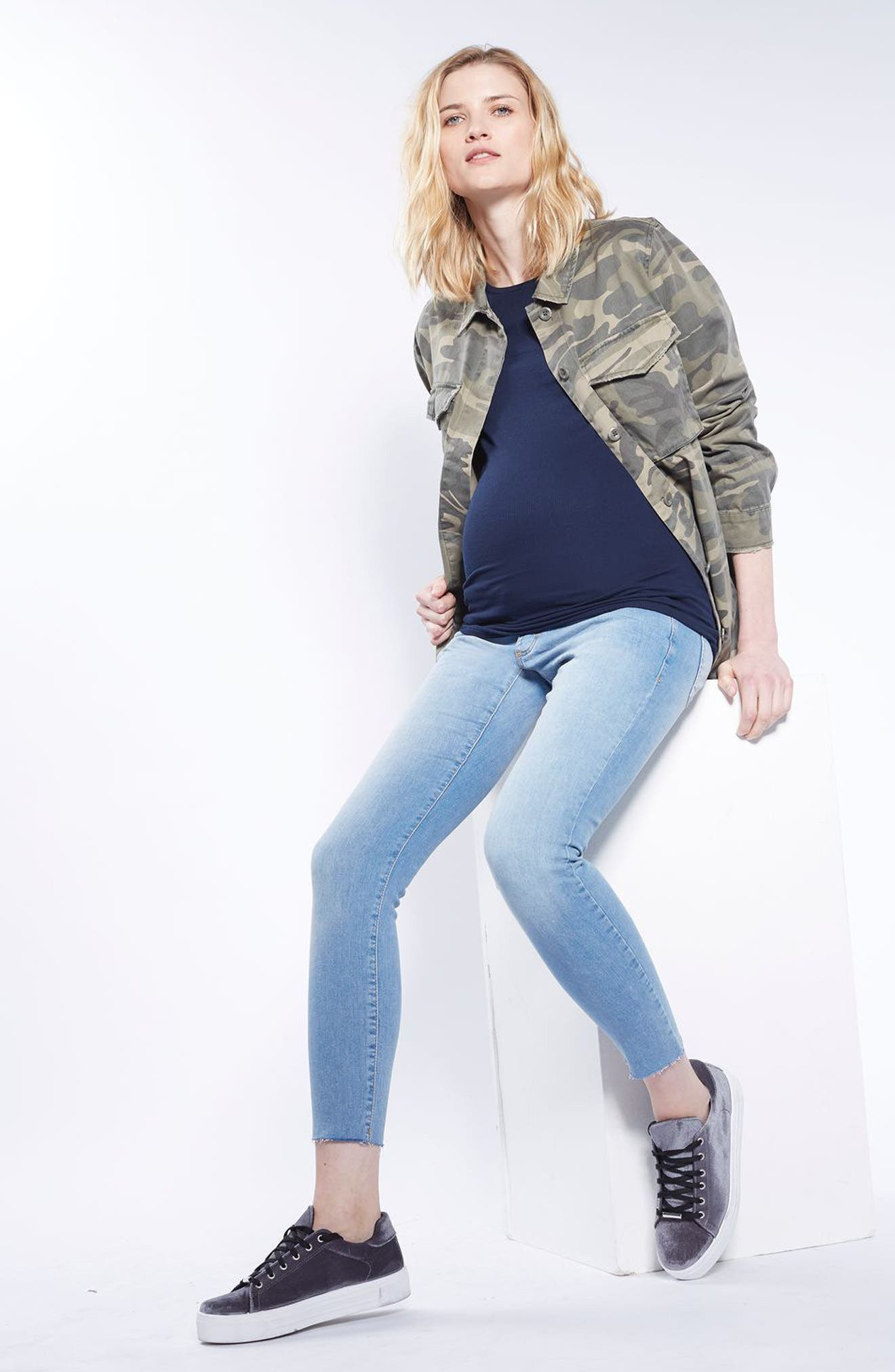 Alternate Image 2  - Topshop Leigh Raw Hem Maternity Skinny Jeans