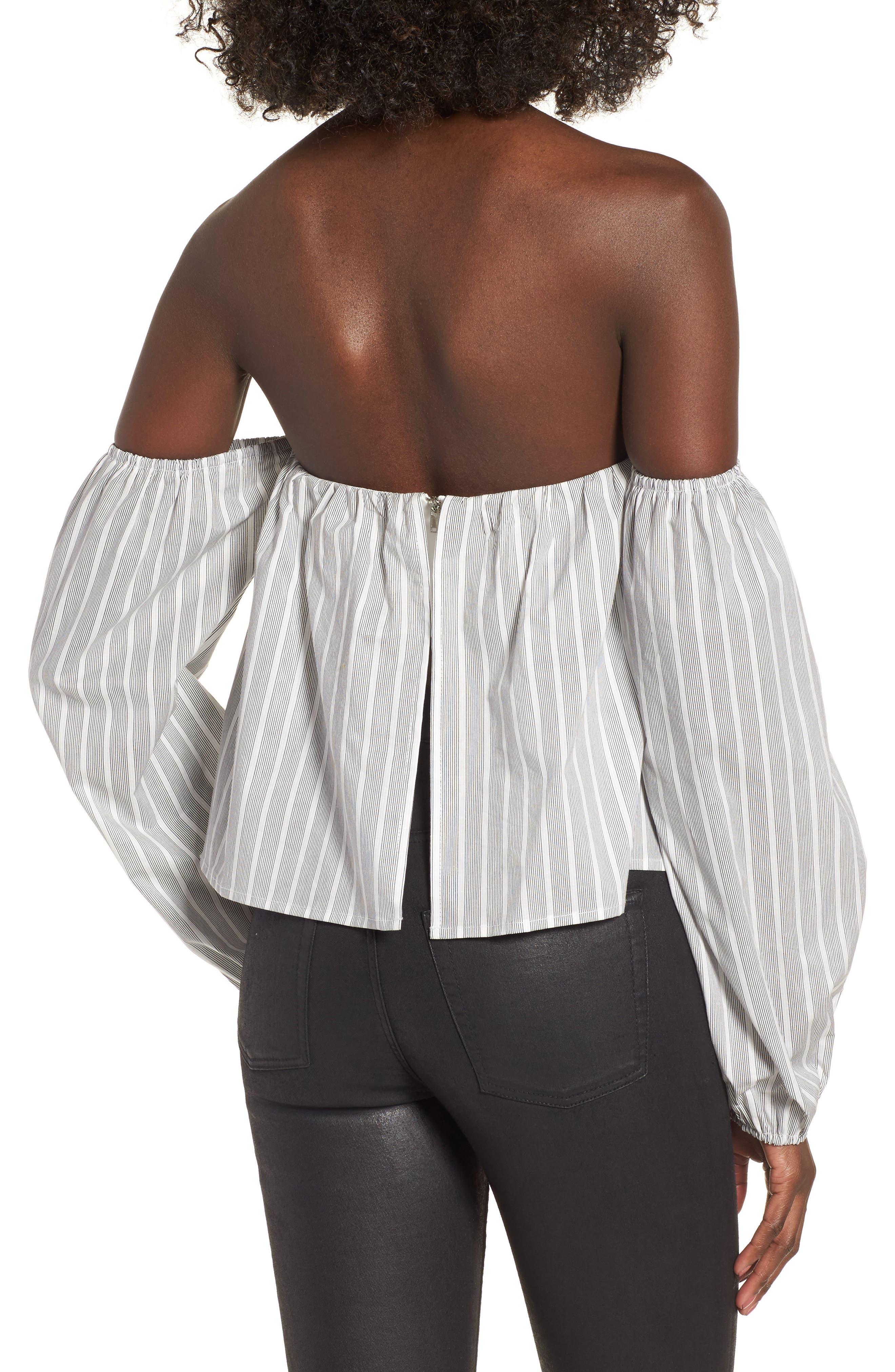 Off the Shoulder Top,                             Alternate thumbnail 2, color,                             Black/ White Stripe
