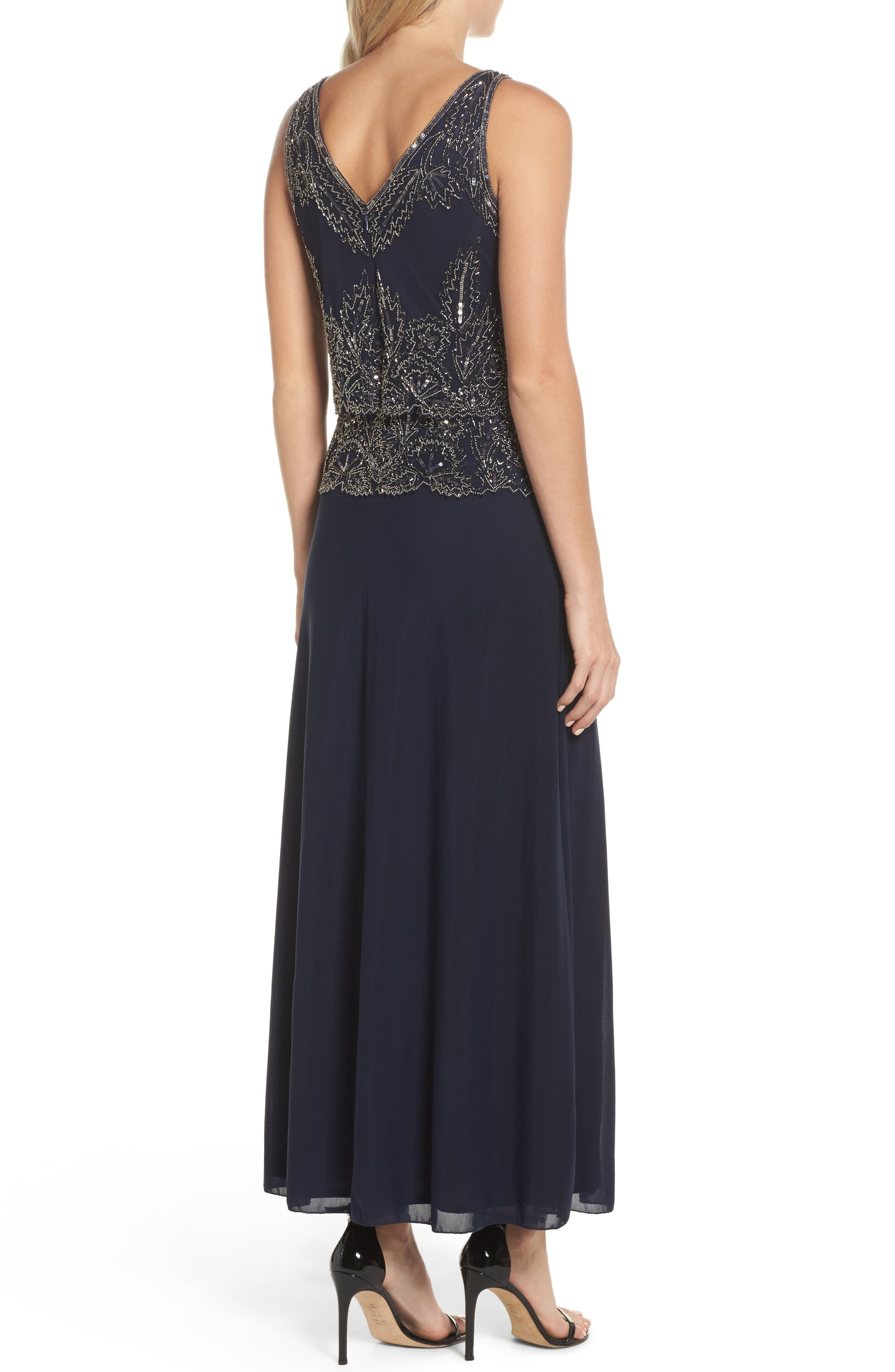 Beaded Tiered Popover Gown,                             Alternate thumbnail 2, color,                             Navy/ Merc