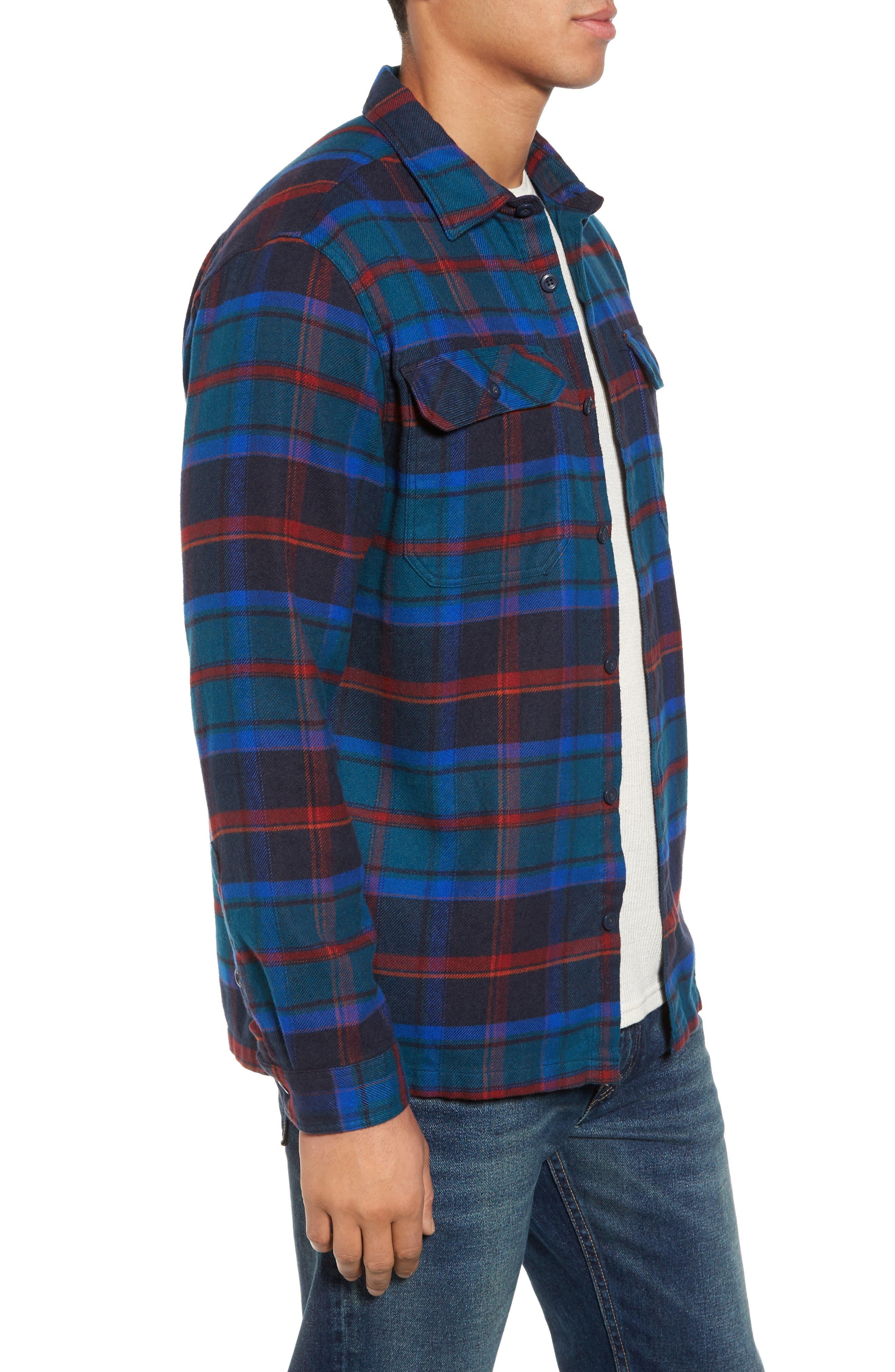 'Fjord' Regular Fit Organic Cotton Flannel Shirt,                             Alternate thumbnail 3, color,                             Buckstop Plaid Big Sur Blue
