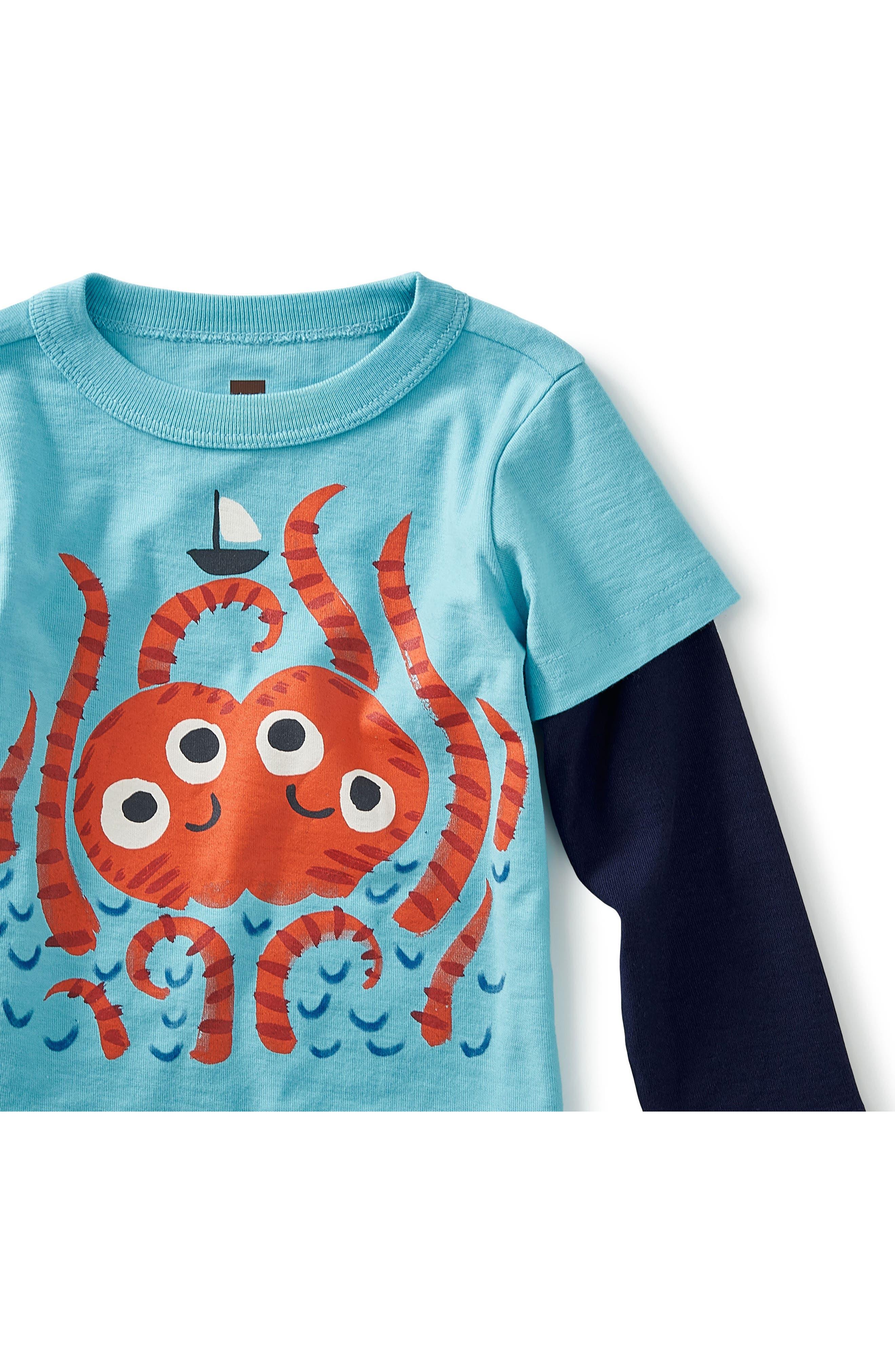 Sea Monster Graphic T-Shirt,                             Alternate thumbnail 2, color,                             Cyan