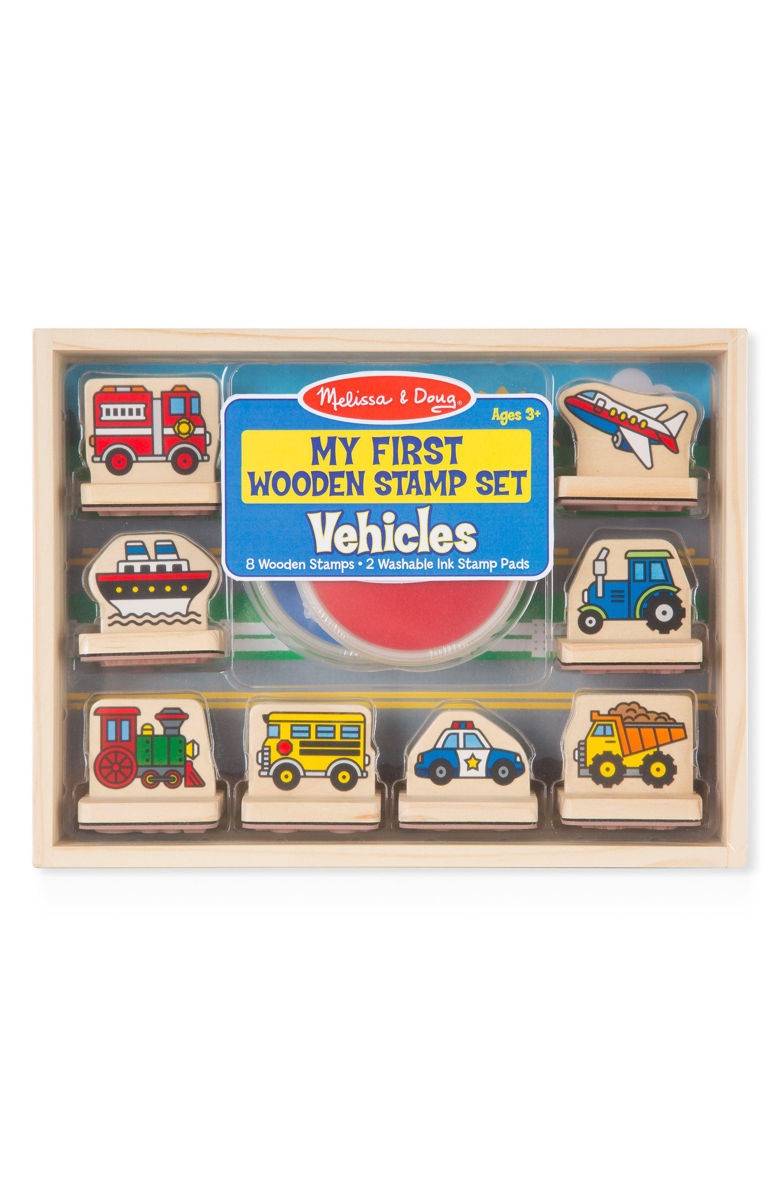 Melissa & Doug 10-Piece My First Wooden Stamp Set - Vehicles