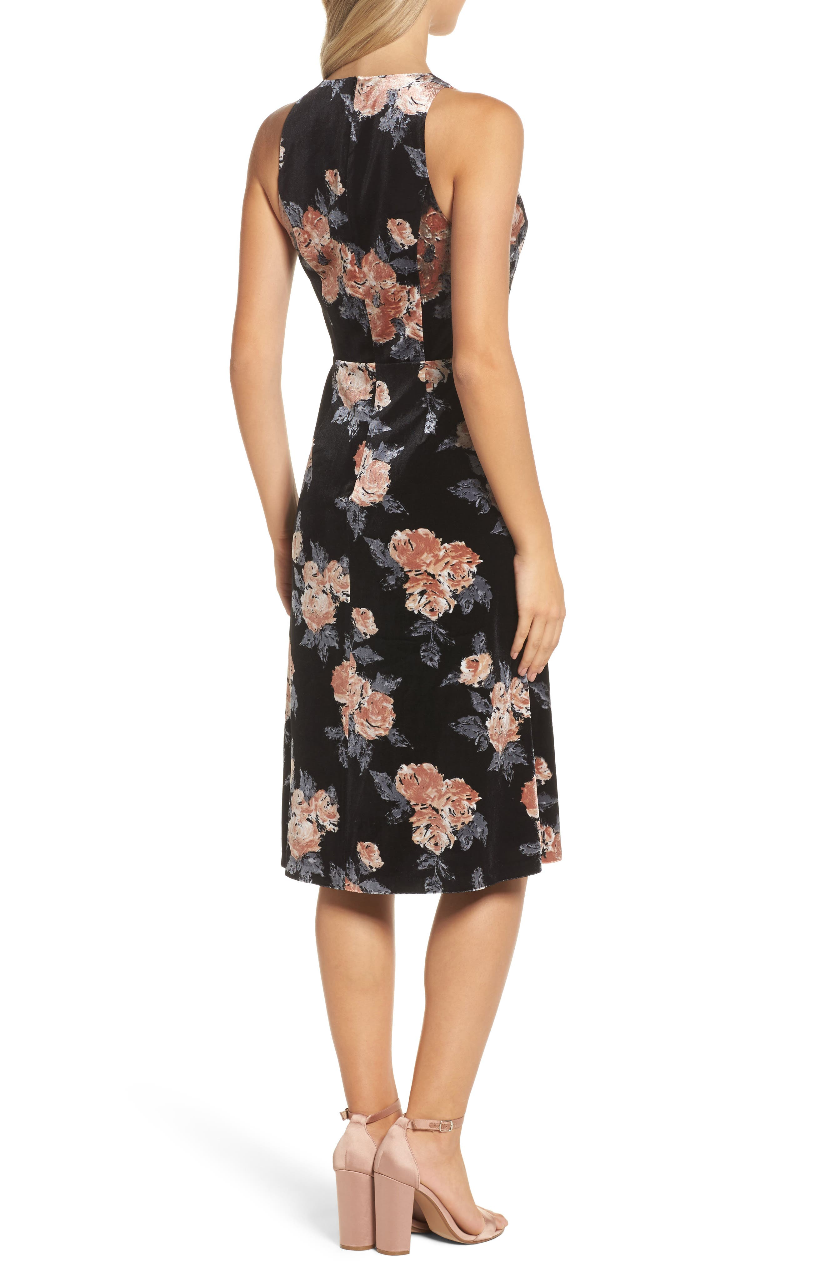 Costes Velvet Fit & Flare Dress,                             Alternate thumbnail 3, color,                             Black Rosettes