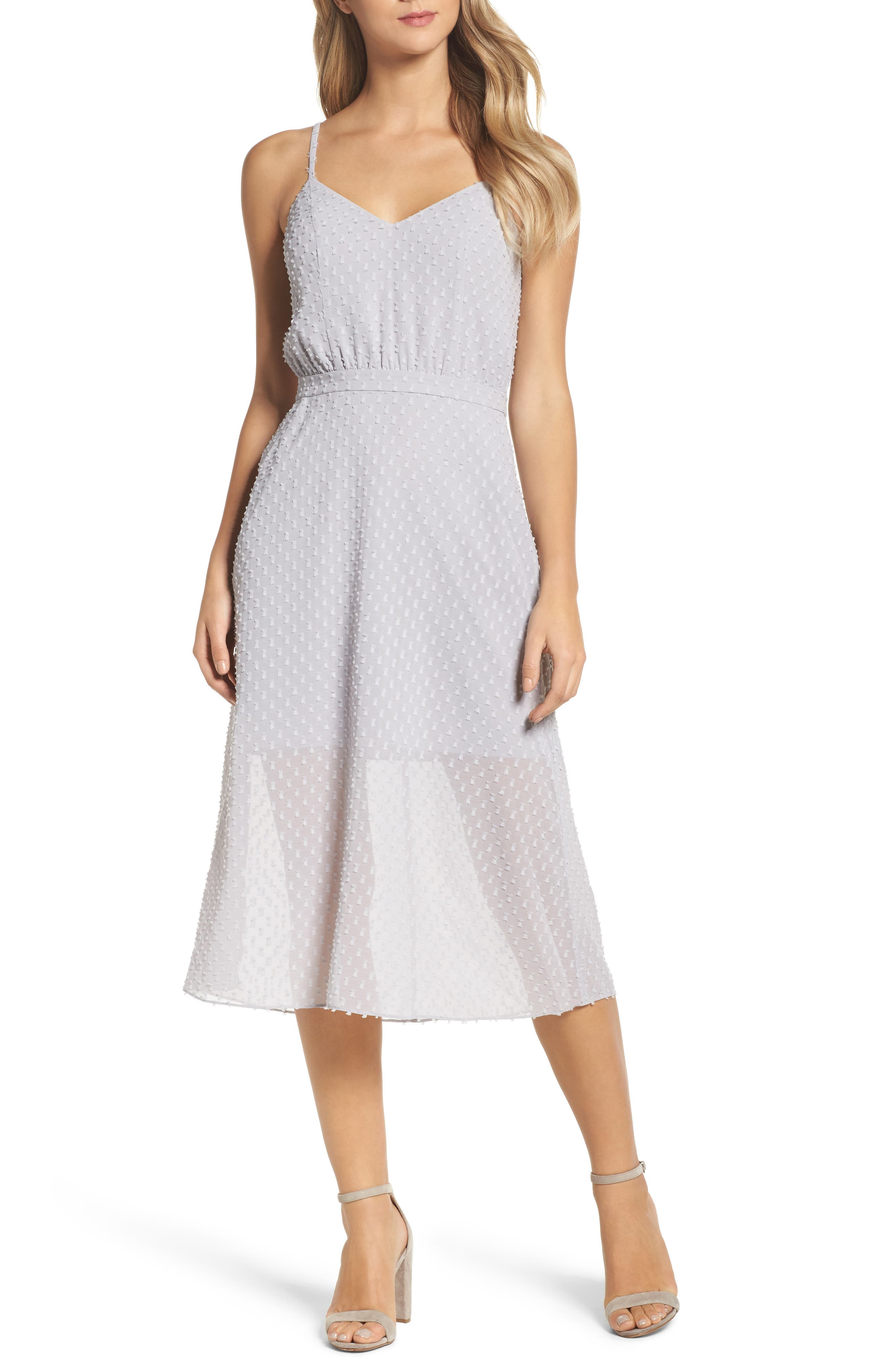 Bisou Bisou Midi Dress,                         Main,                         color, Dove Grey