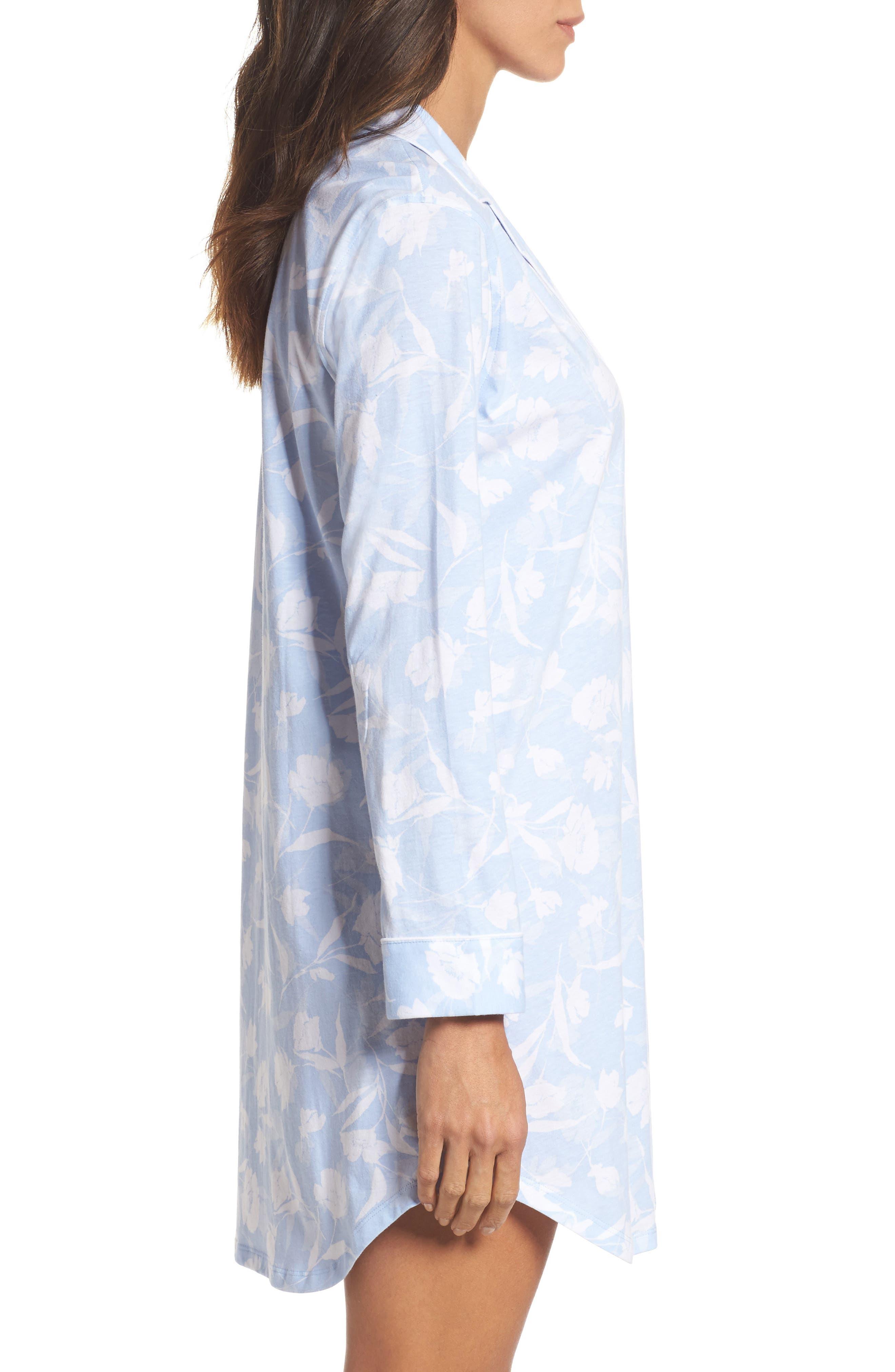 Notch Collar Sleep Shirt,                             Alternate thumbnail 3, color,                             Pale Blue Monotone Floral