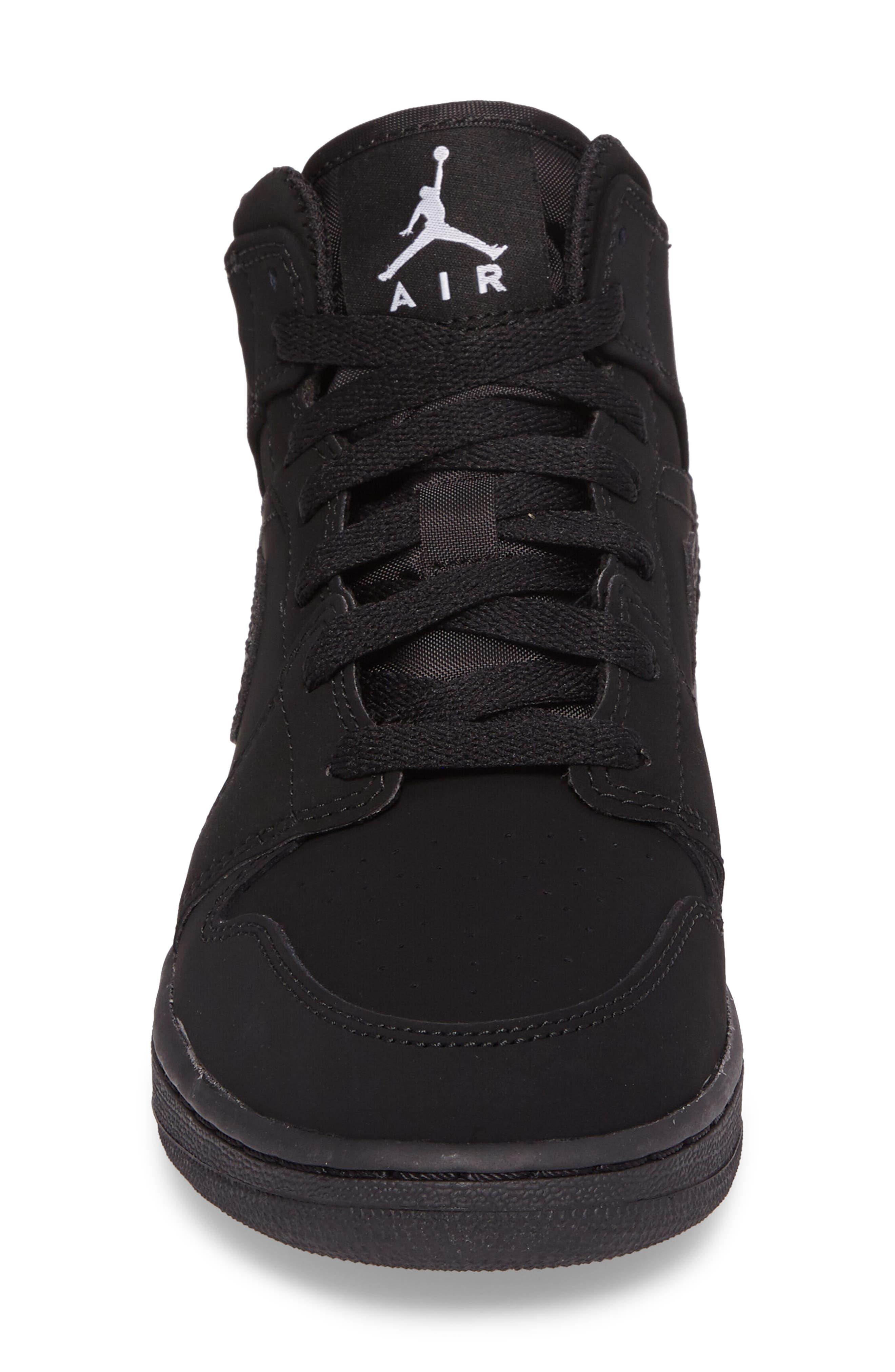 Nike 'Air Jordan 1 Mid' Sneaker,                             Alternate thumbnail 4, color,                             Black