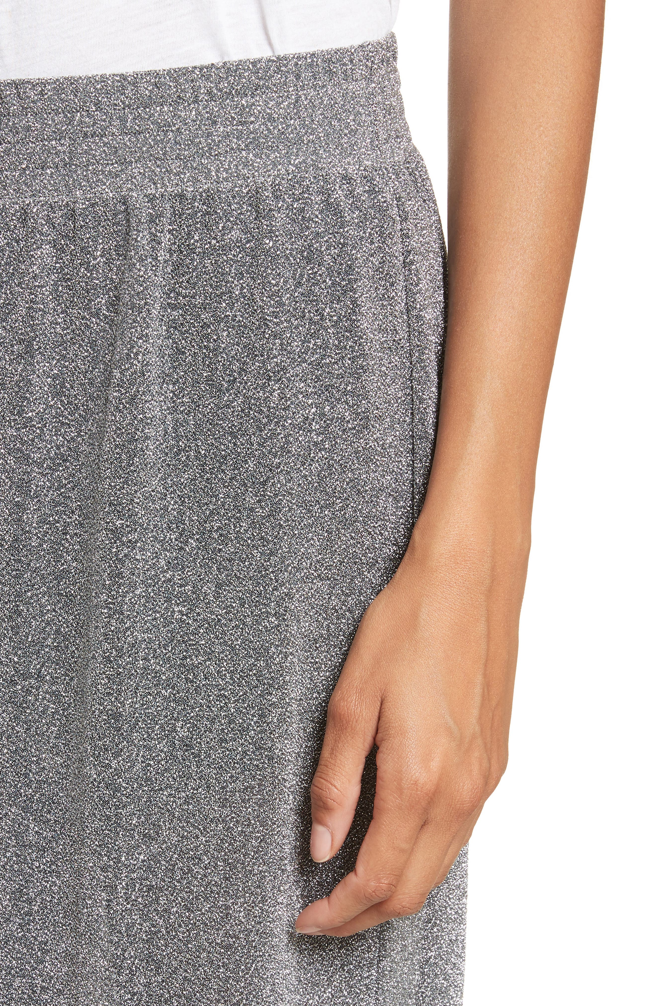 Metallic Jersey Wide Leg Pants,                             Alternate thumbnail 5, color,                             Grey