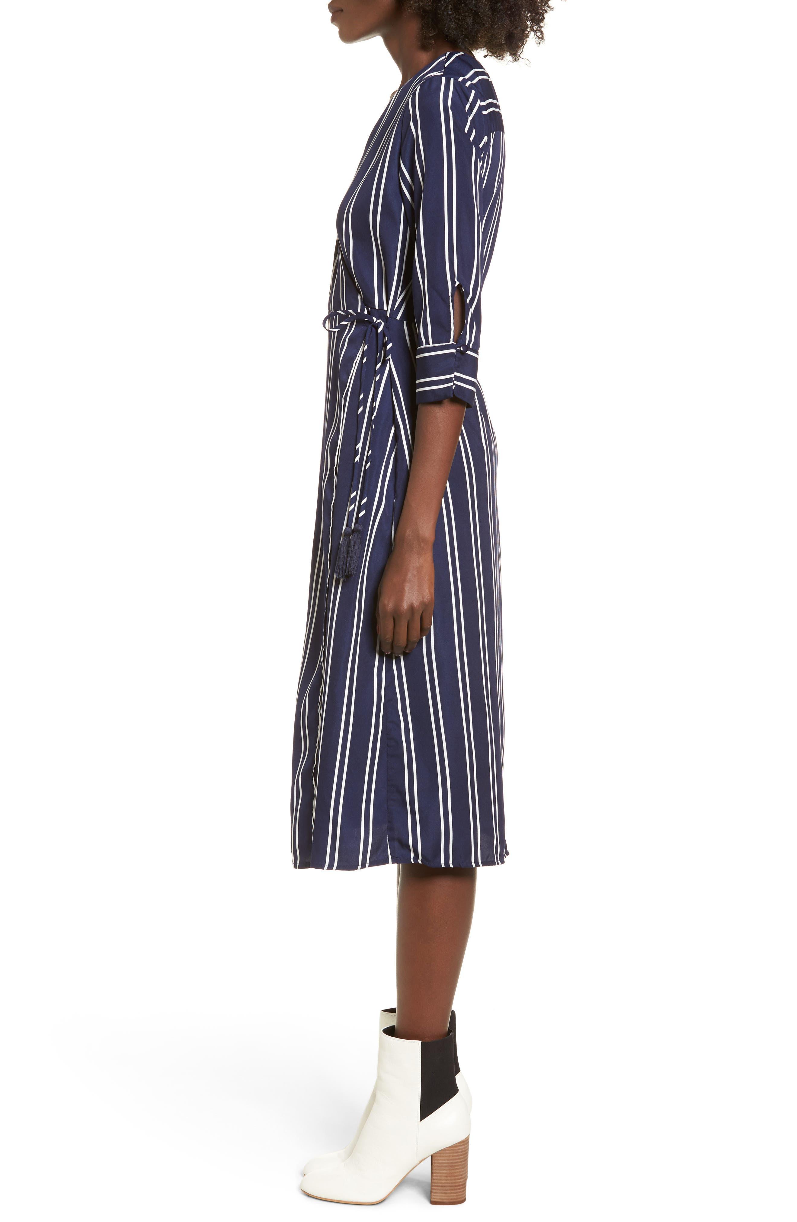 Stripe Wrap Midi Dress,                             Alternate thumbnail 3, color,                             Navy