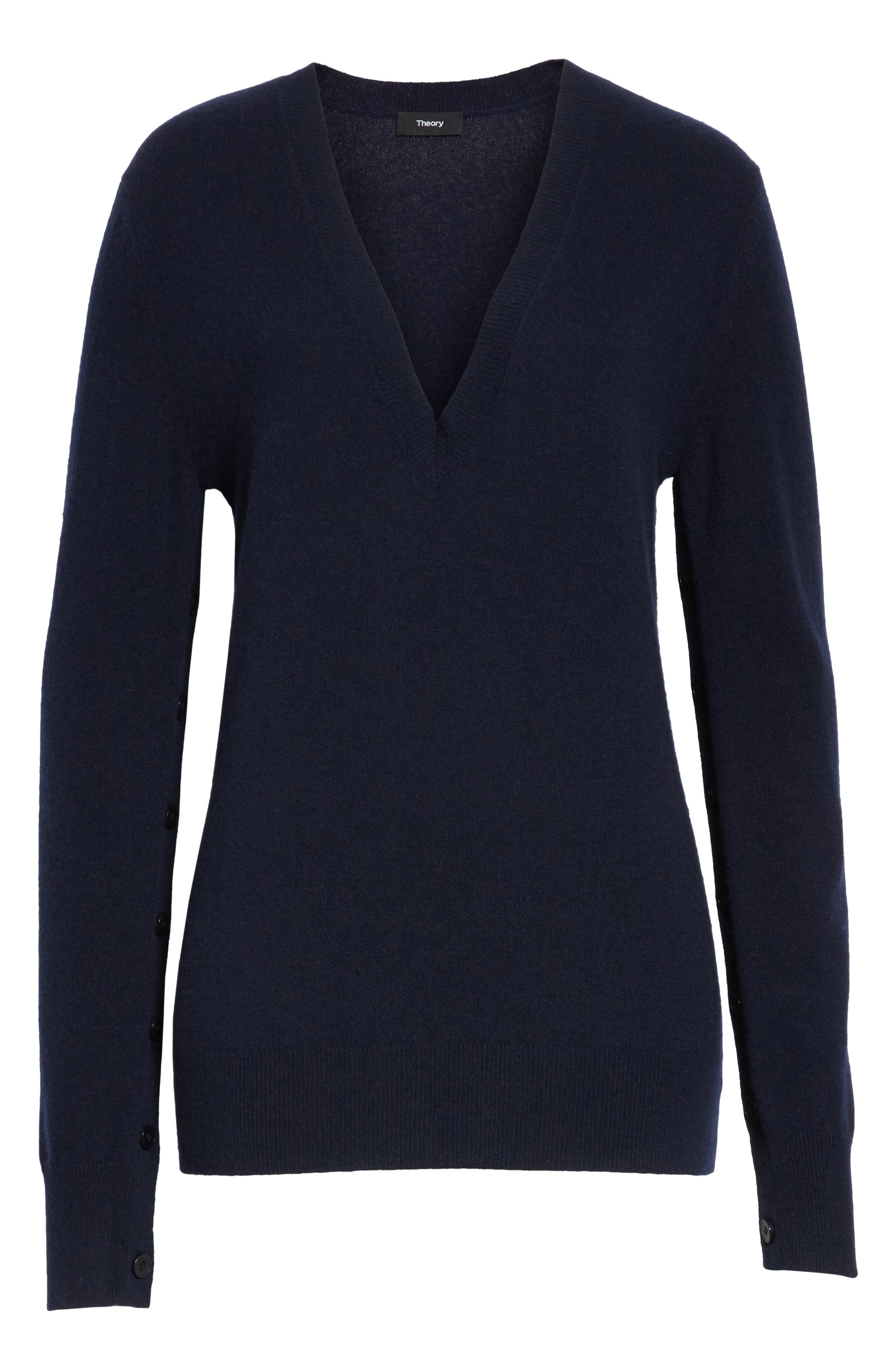Button Sleeve Cashmere Sweater,                             Alternate thumbnail 6, color,                             Deep Navy