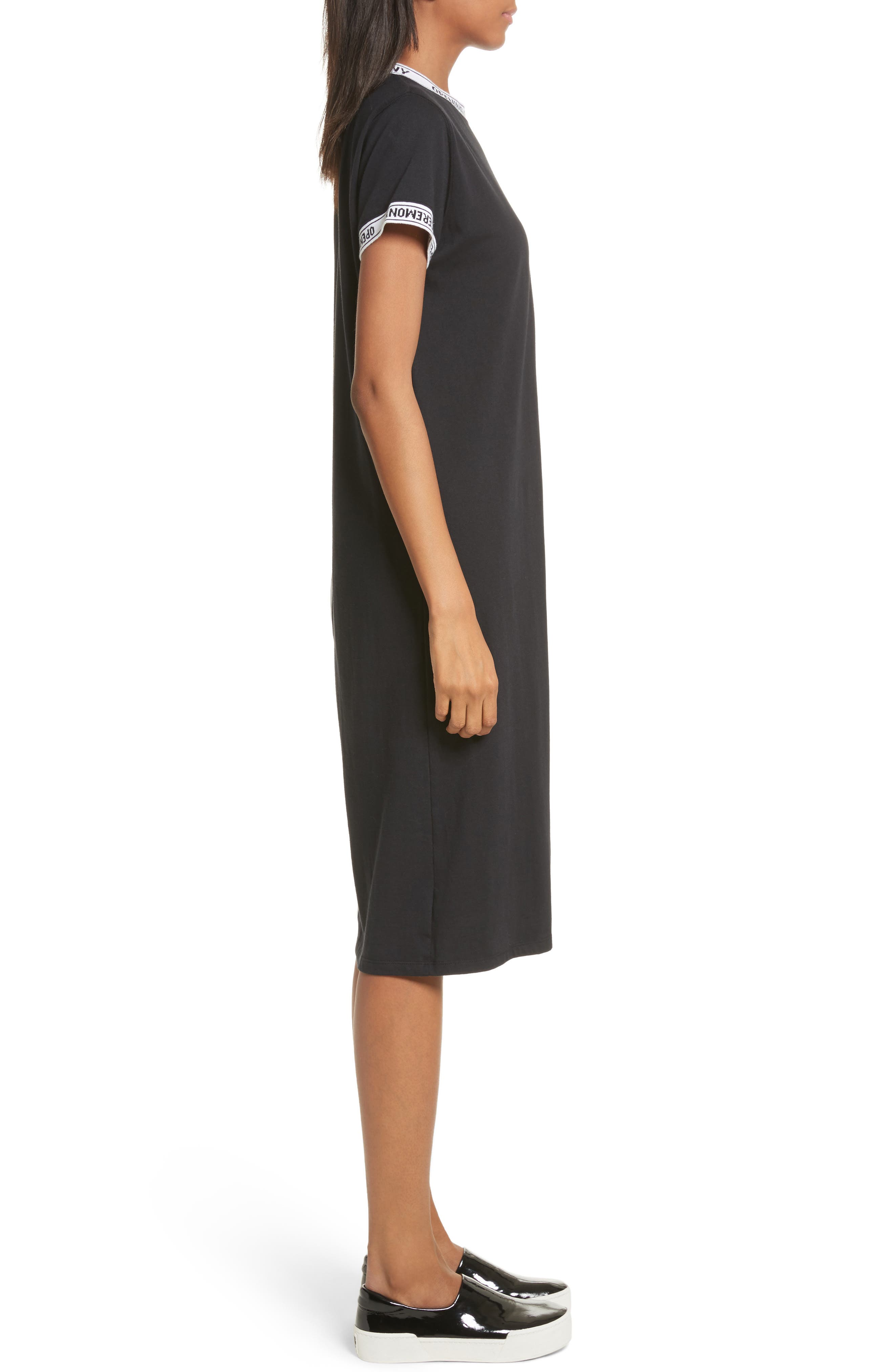 Banded T-Shirt Dress,                             Alternate thumbnail 3, color,                             Black