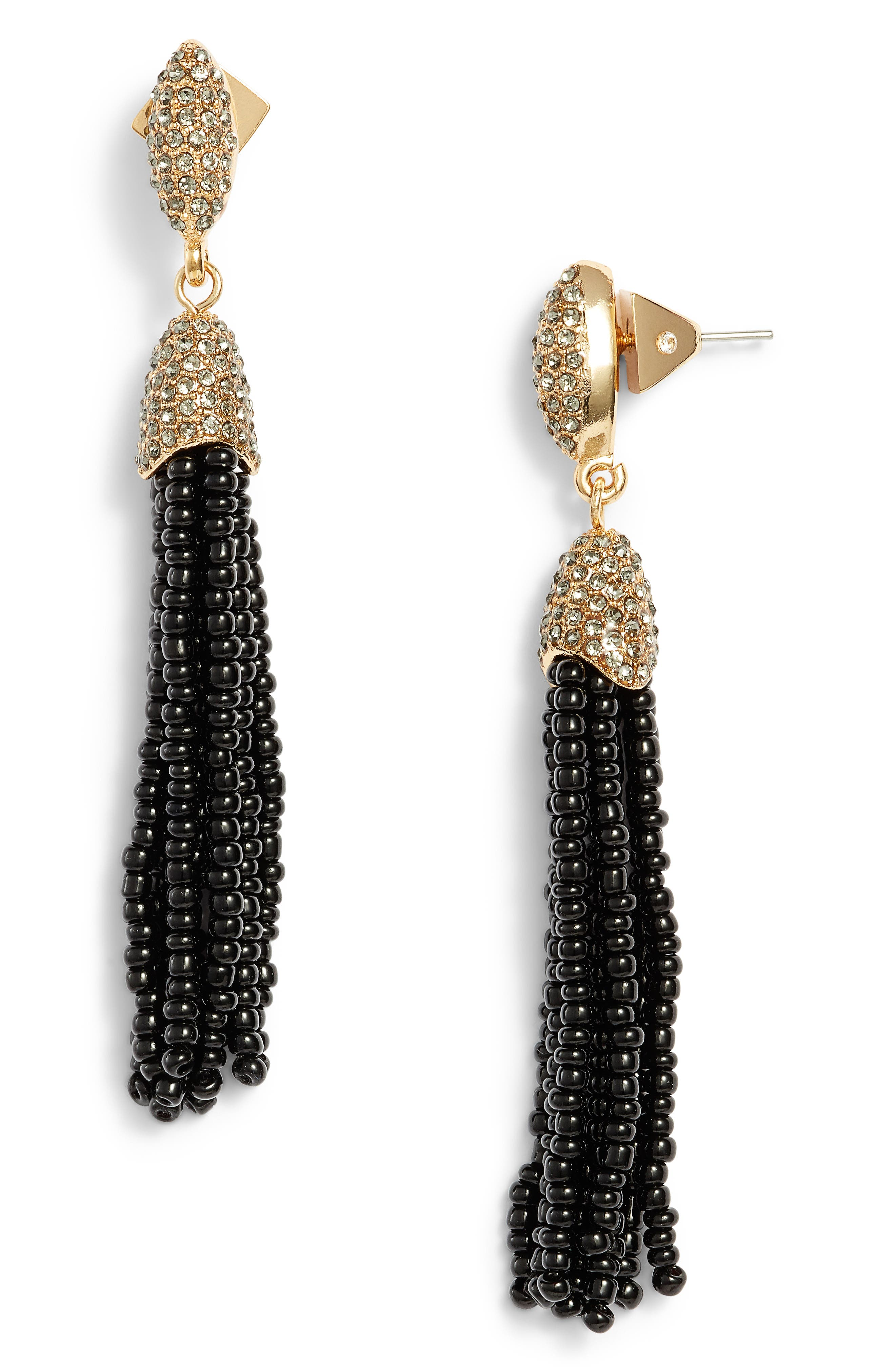 Seed Bead Tassel Earrings,                         Main,                         color, Gold