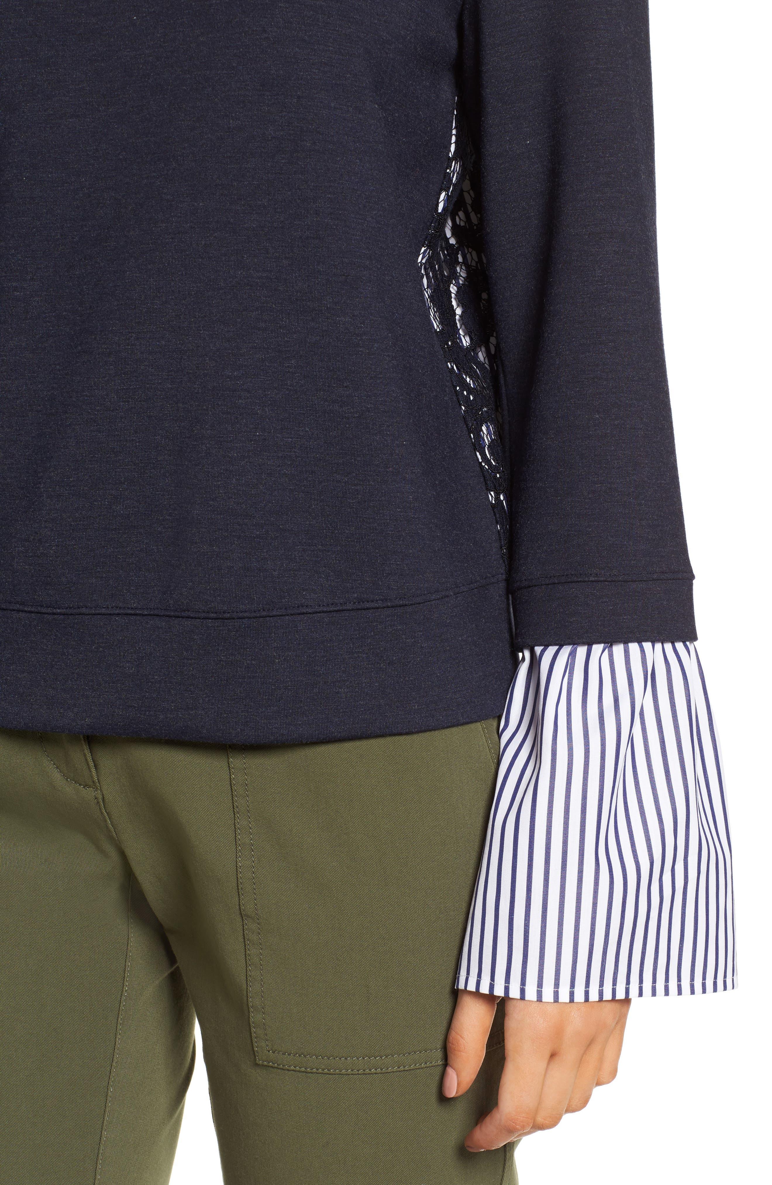 Poplin & Lace Crewneck Sweatshirt,                             Alternate thumbnail 4, color,                             Navy Night