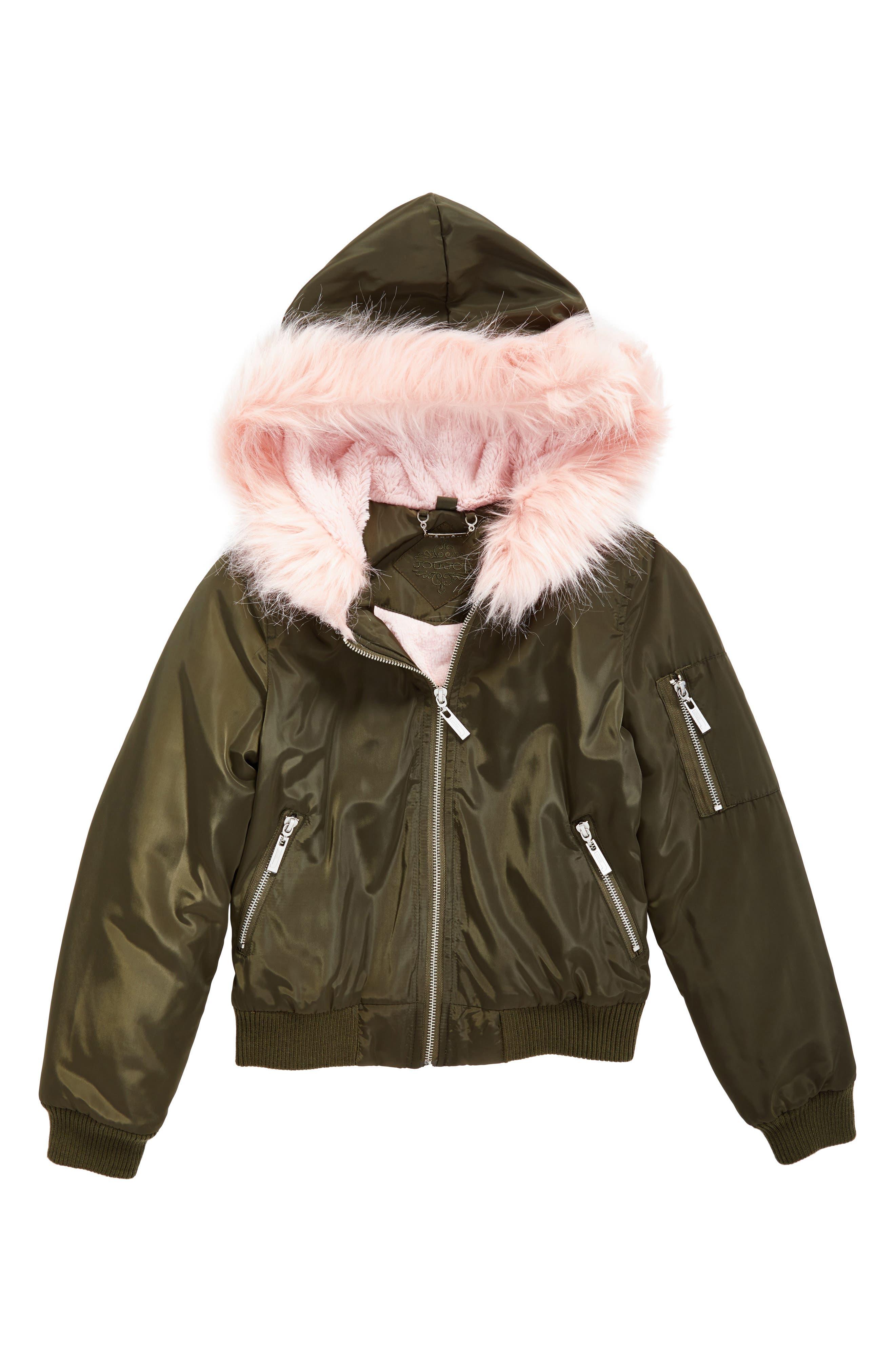 Main Image - Jou Jou Hooded Bomber Jacket with Faux Fur Trim (Big Girls)