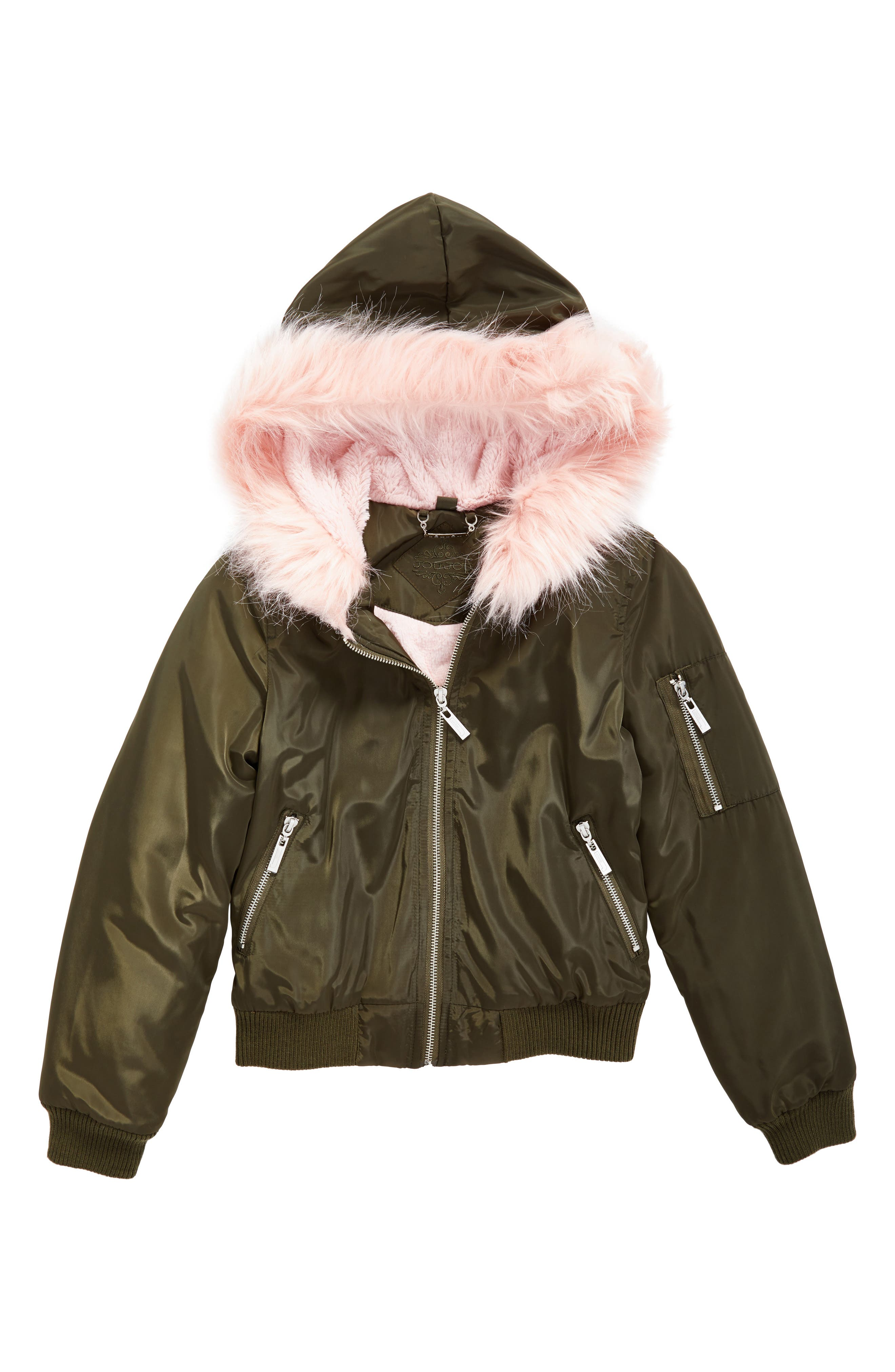 Hooded Bomber Jacket with Faux Fur Trim,                         Main,                         color, Olive/ Pink