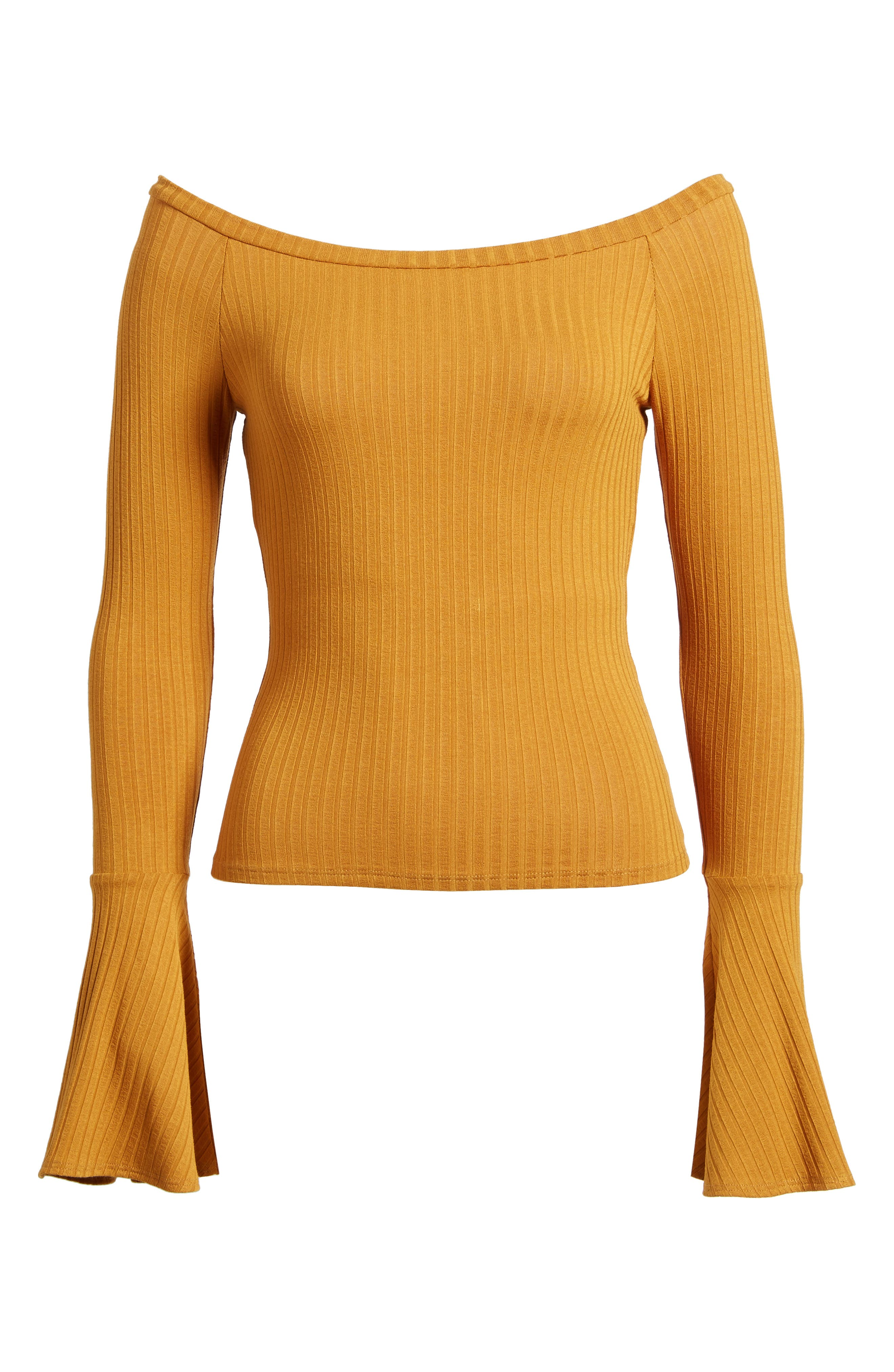 Bell Sleeve Ribbed Top,                             Alternate thumbnail 6, color,                             Mustard