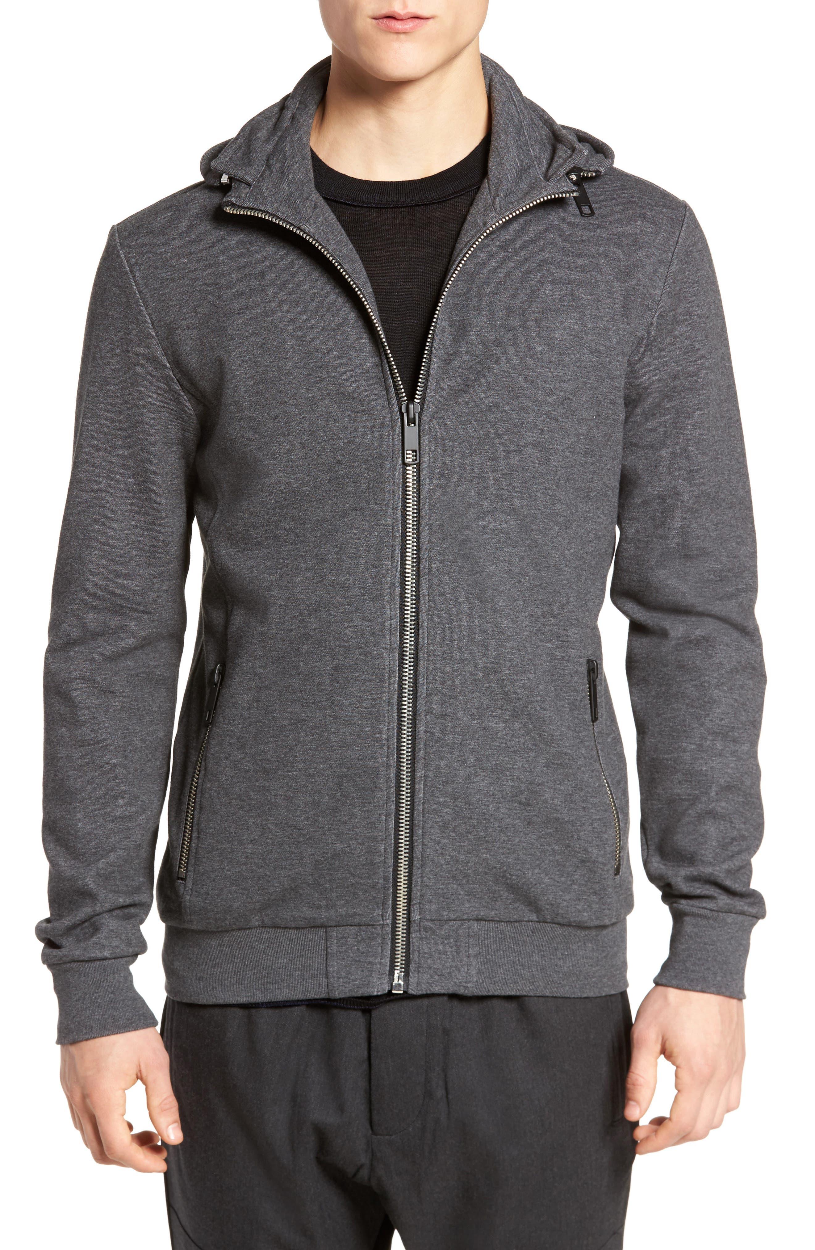 Zip Up Fleece,                         Main,                         color, Dark Melange